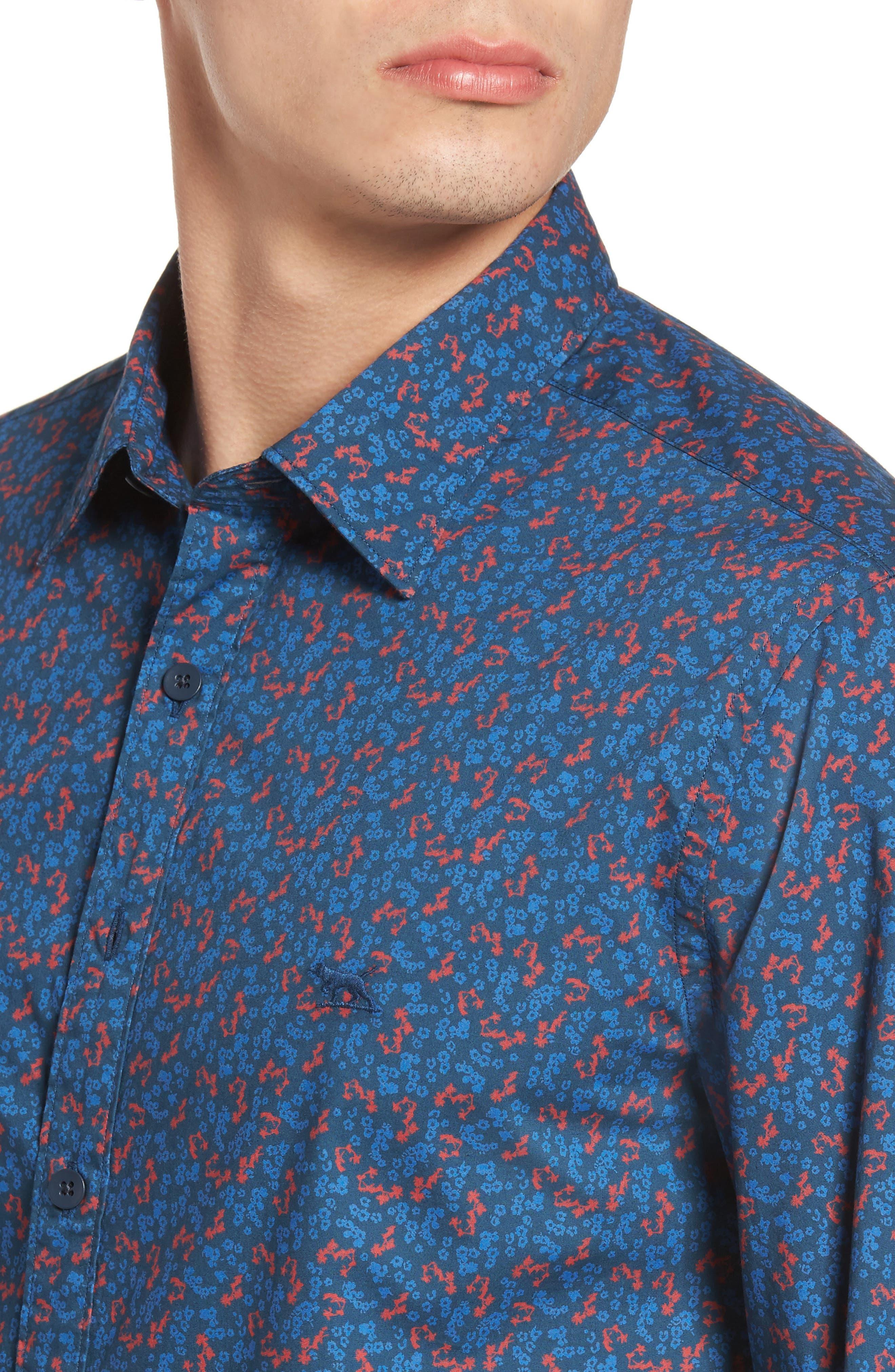 Patons Rock Original Fit Print Sport Shirt,                             Alternate thumbnail 4, color,                             412