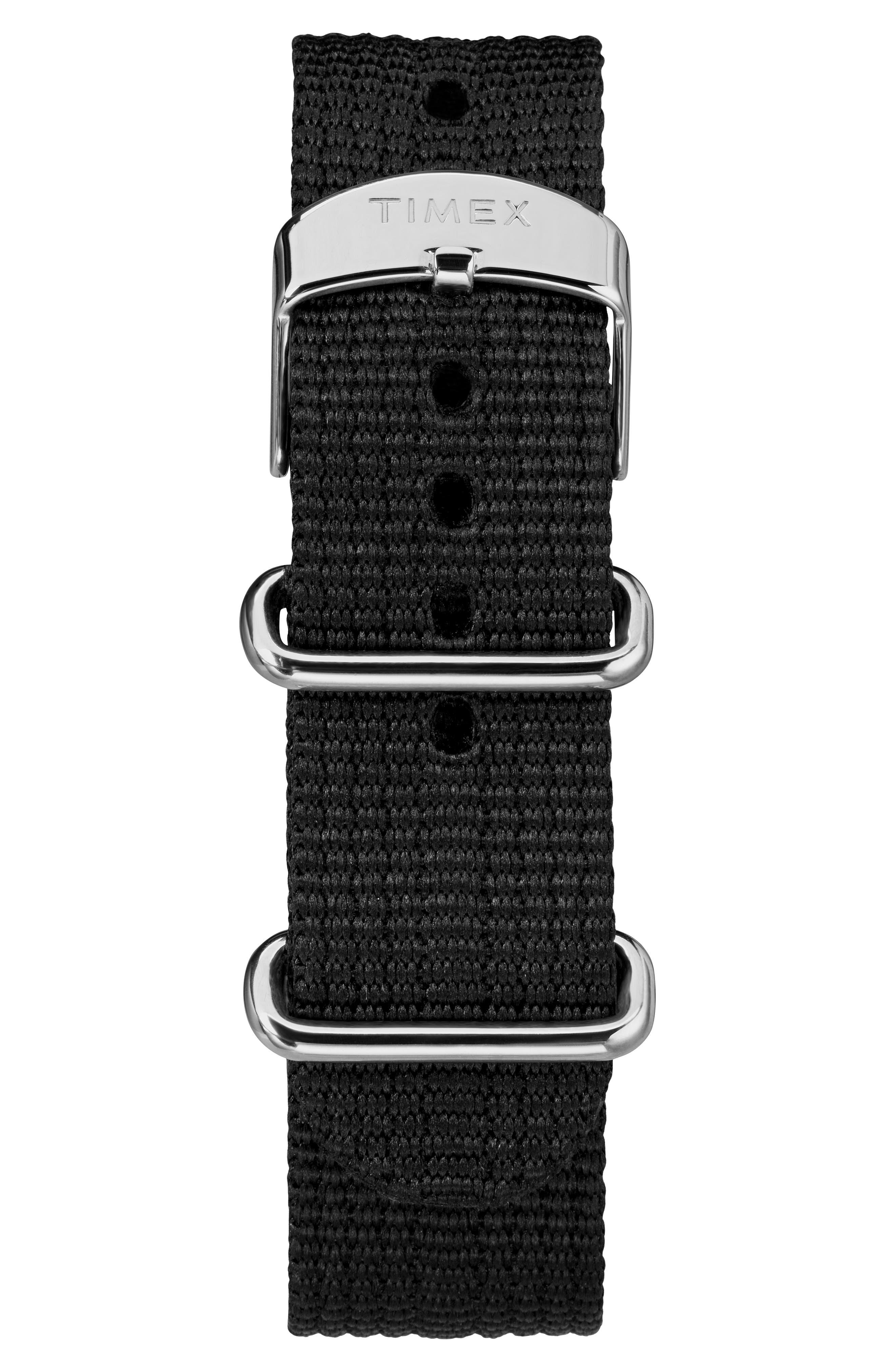 The Mod NATO Strap Watch, 40mm,                             Alternate thumbnail 3, color,                             BLACK/ WHITE
