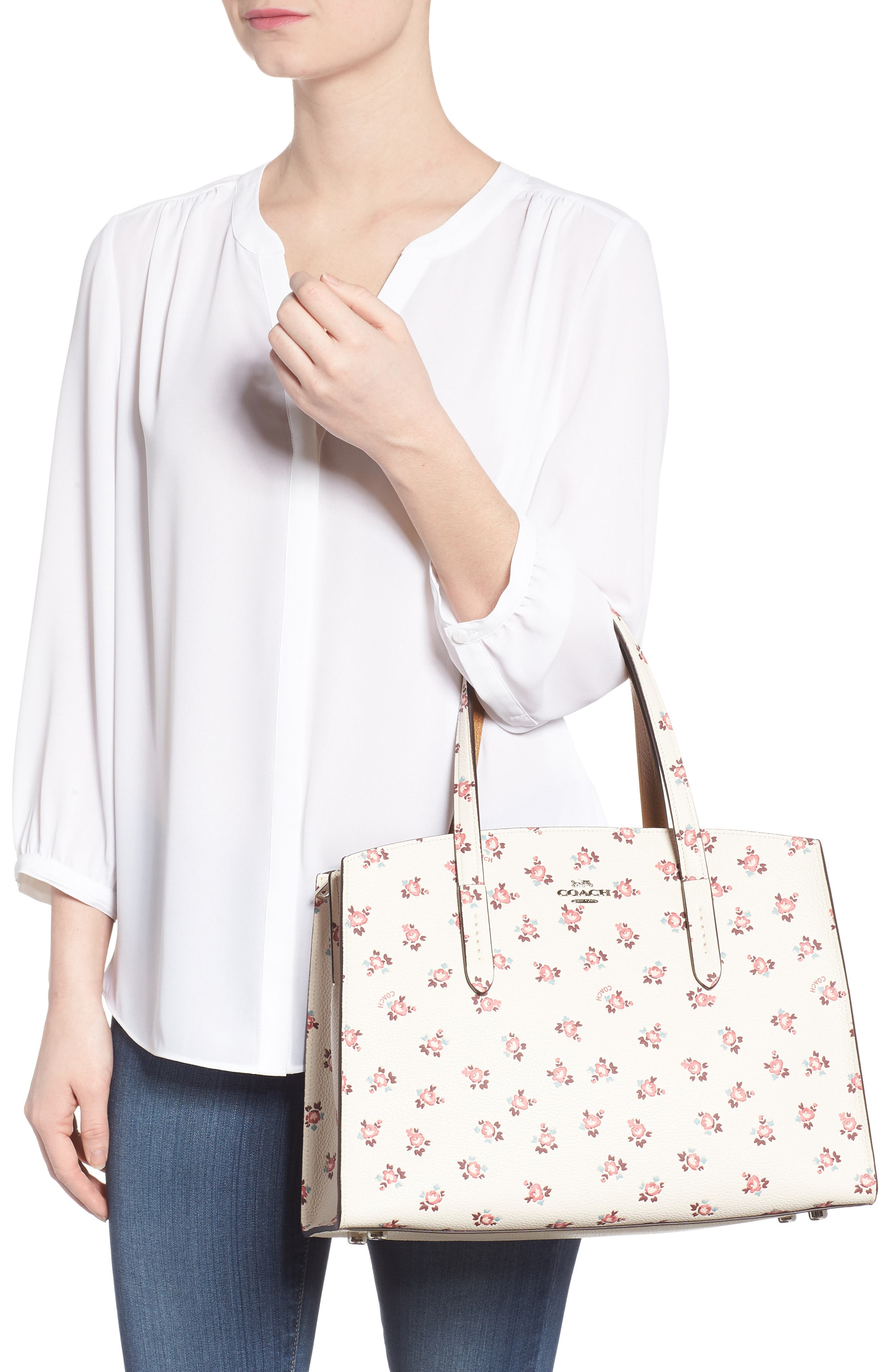 Charlie Floral Embossed Leather Tote,                             Alternate thumbnail 2, color,                             900