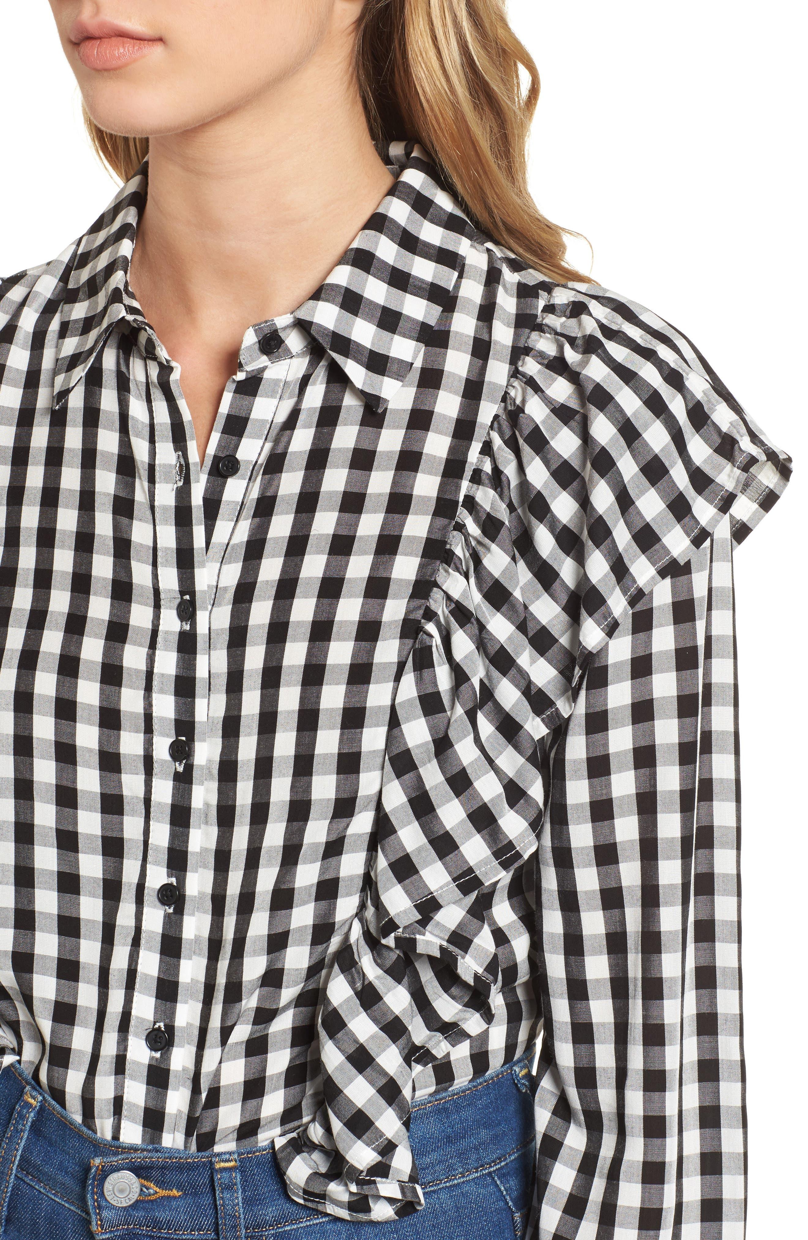 Ruffle Gingham Shirt,                             Alternate thumbnail 4, color,                             001