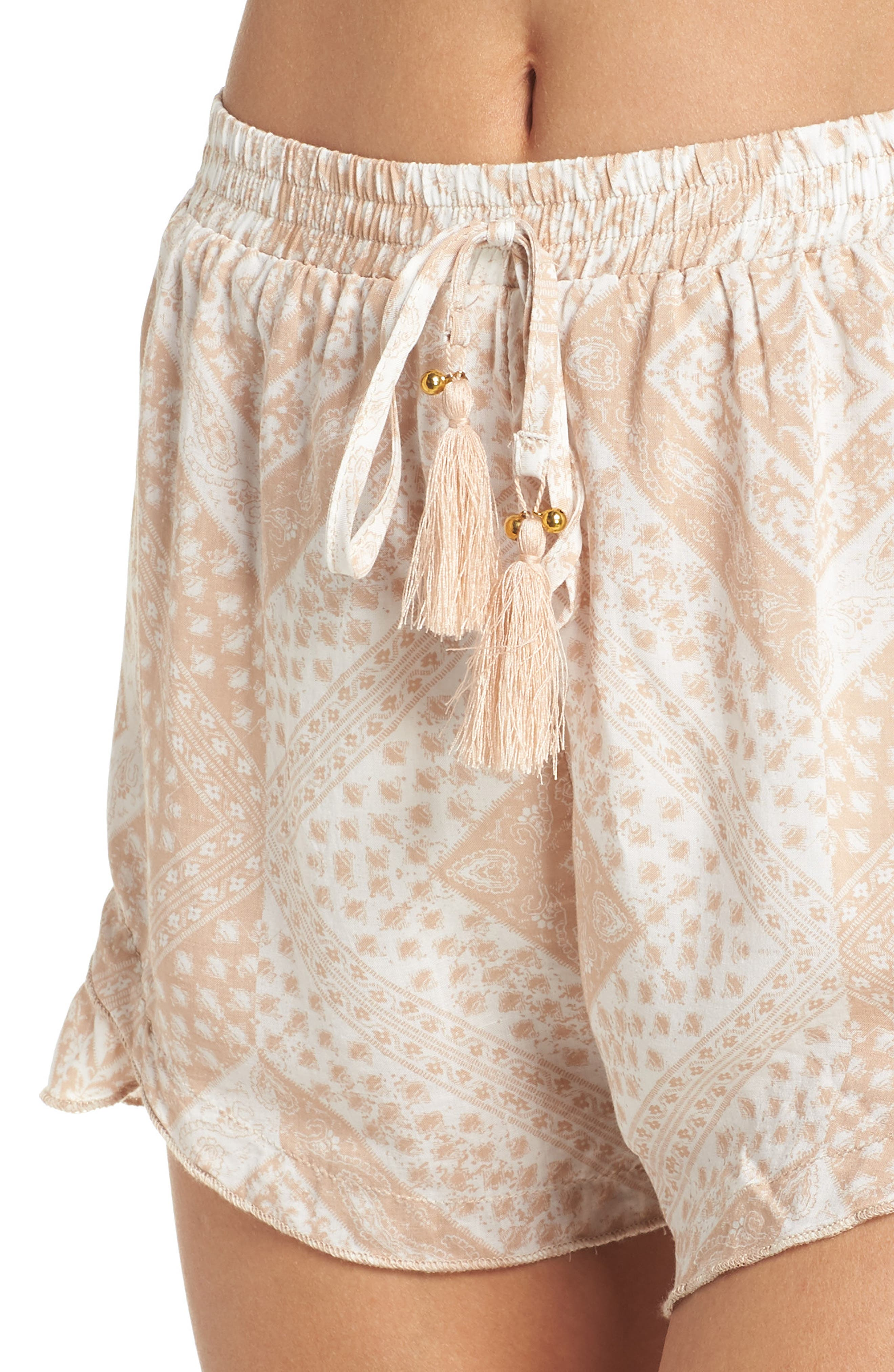 Tassel Trim Cover-Up Shorts,                             Alternate thumbnail 4, color,                             TAN SCARF