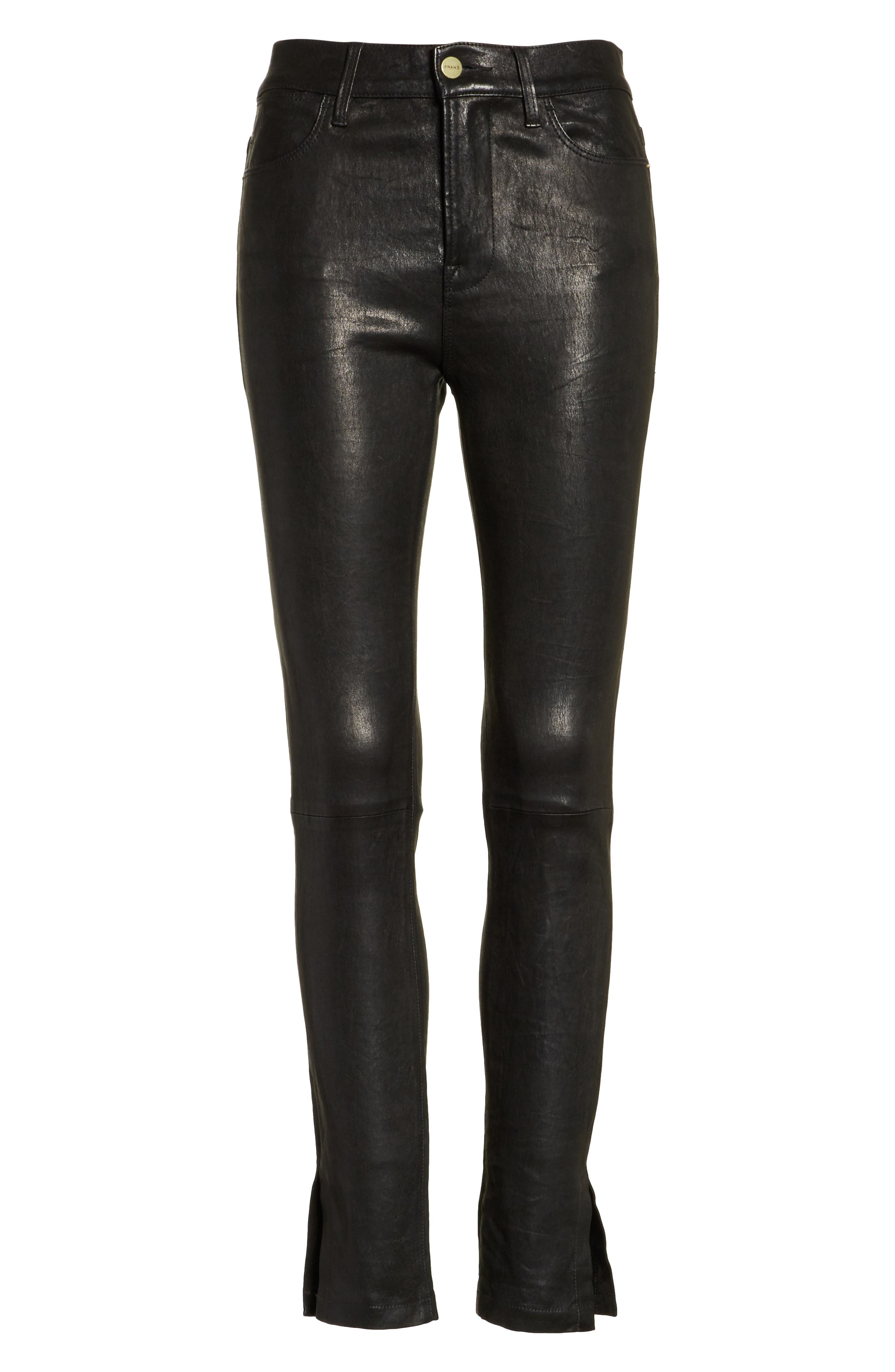 Le High Skinny Slit Leather Pants,                             Alternate thumbnail 6, color,                             001