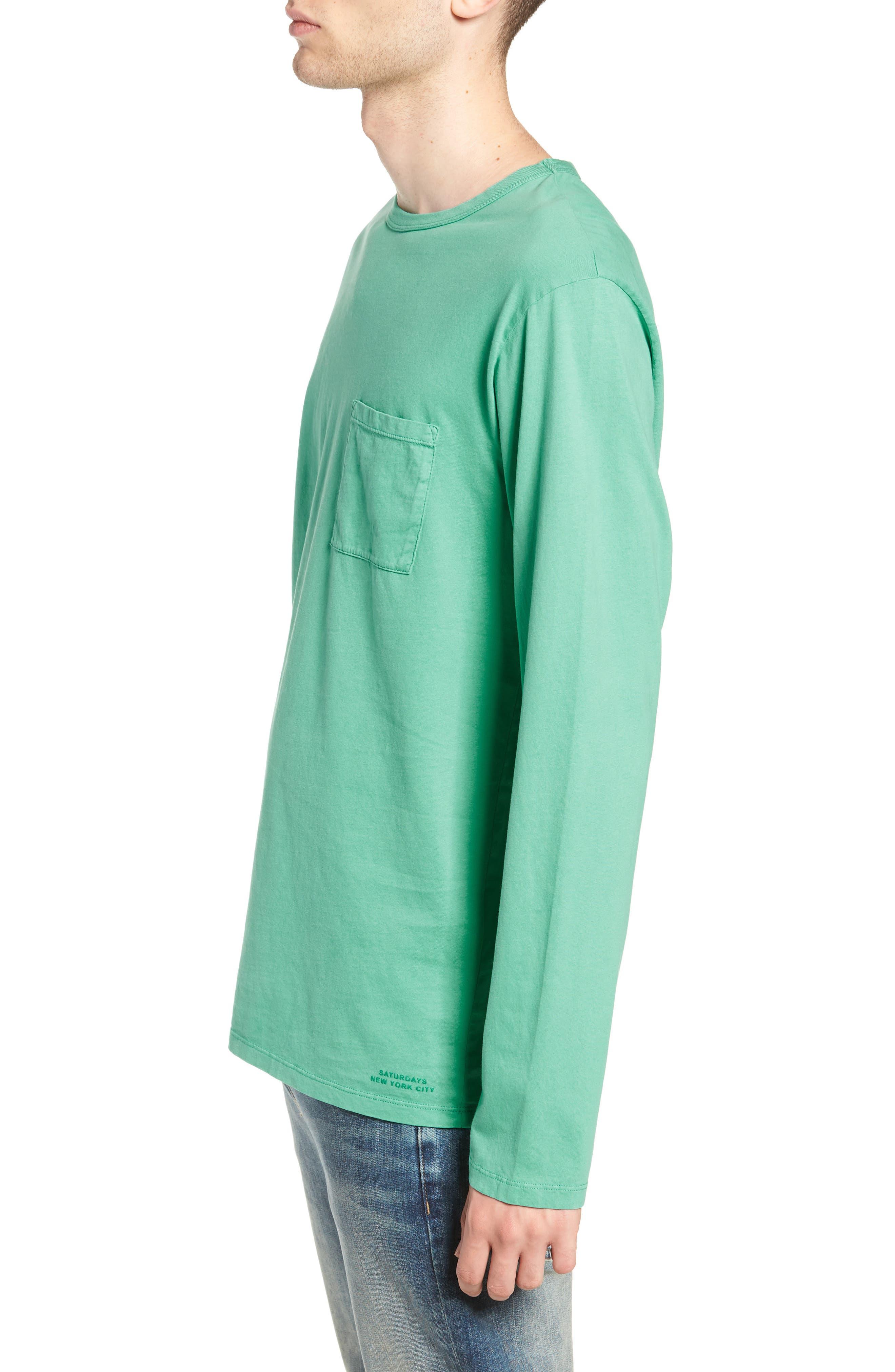 James Pima Long Sleeve Pocket T-Shirt,                             Alternate thumbnail 3, color,                             SEAFOAM GREEN