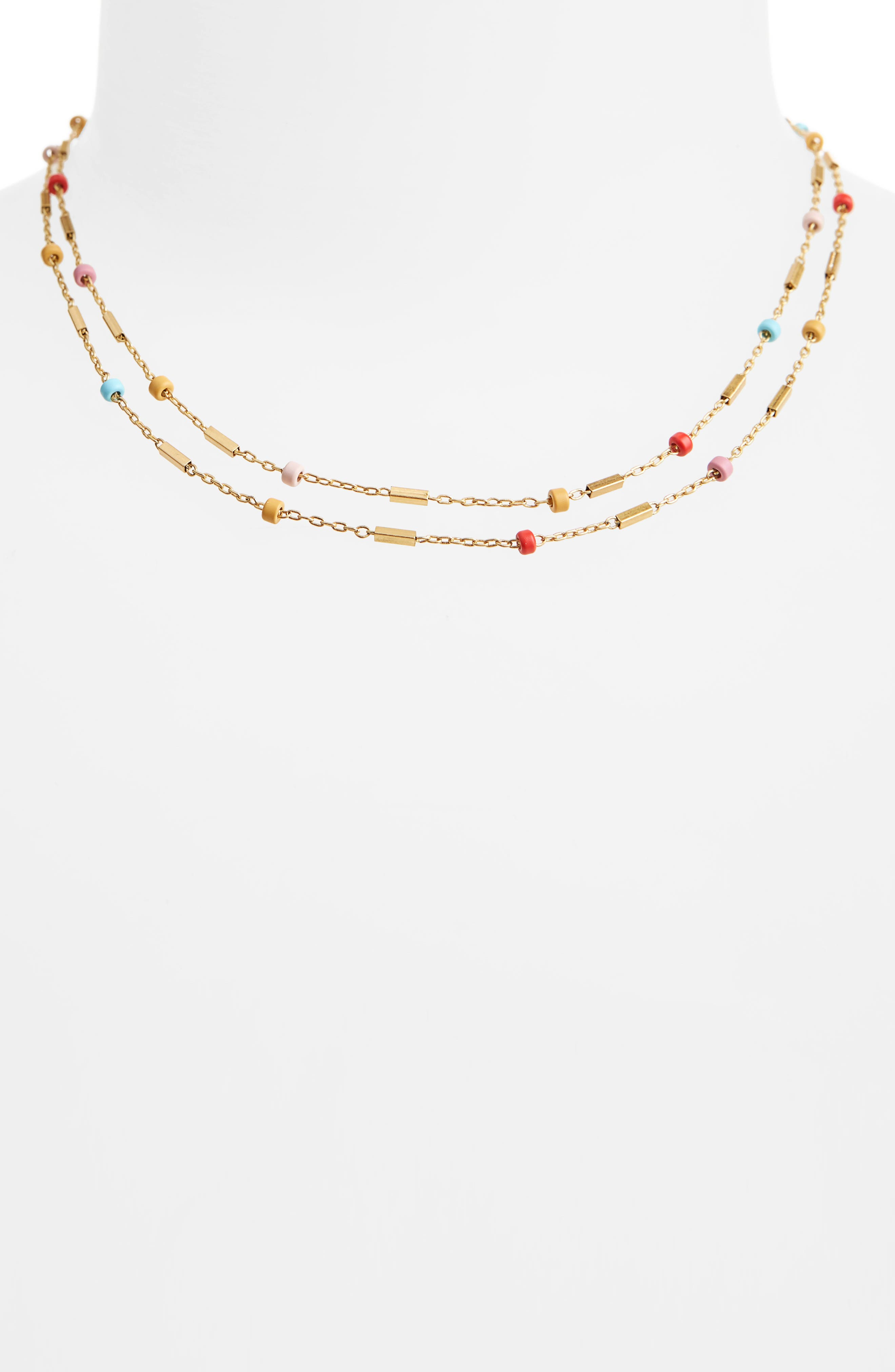 Layered Beaded Chain Necklace,                             Alternate thumbnail 2, color,                             710