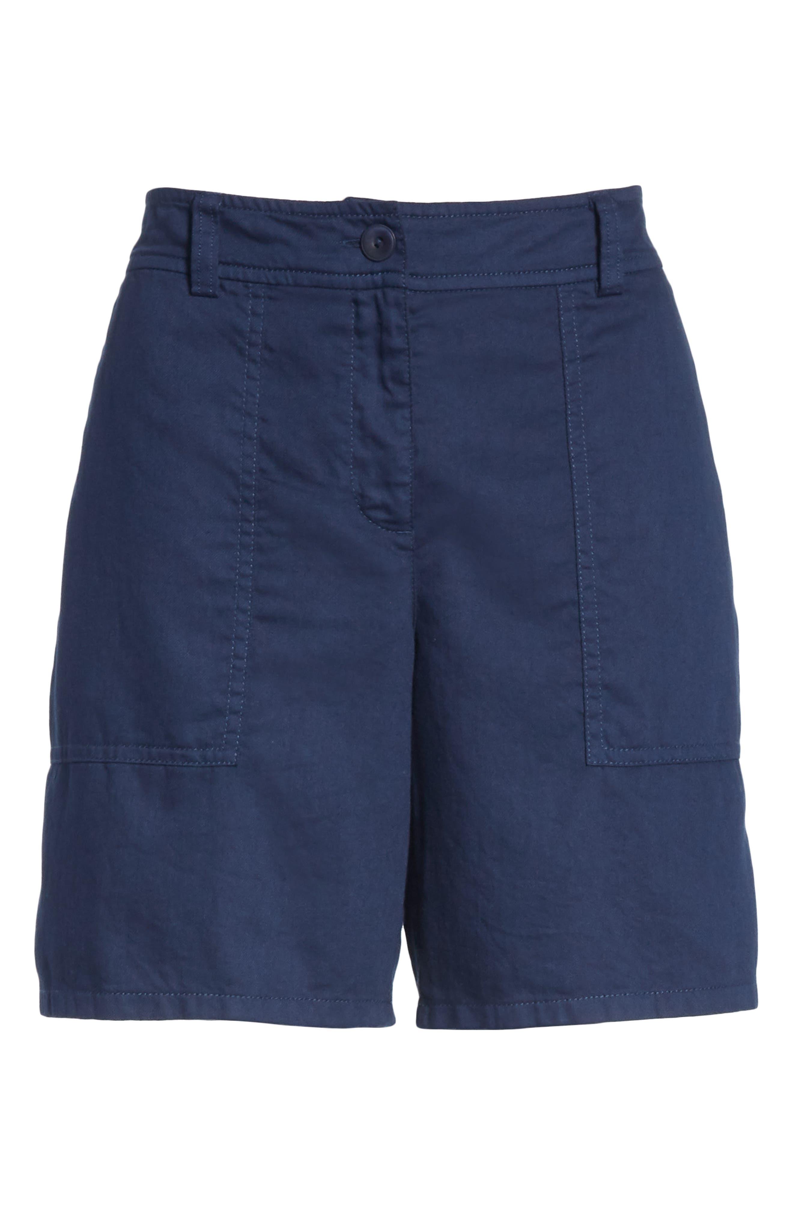 Organic Cotton Walking Shorts,                             Alternate thumbnail 6, color,                             INDIGO