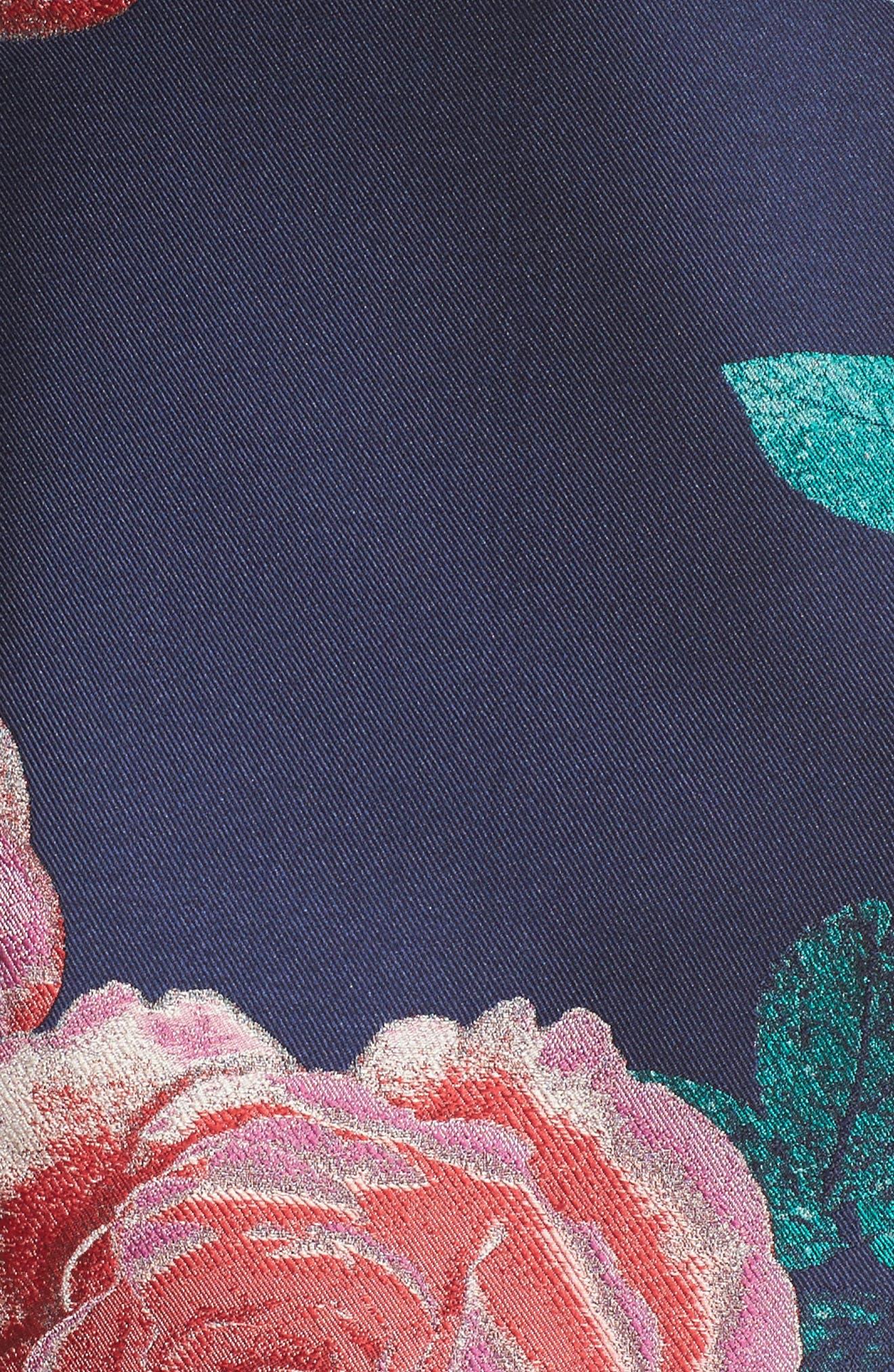 Floral Fit & Flare Dress,                             Alternate thumbnail 6, color,                             NAVY