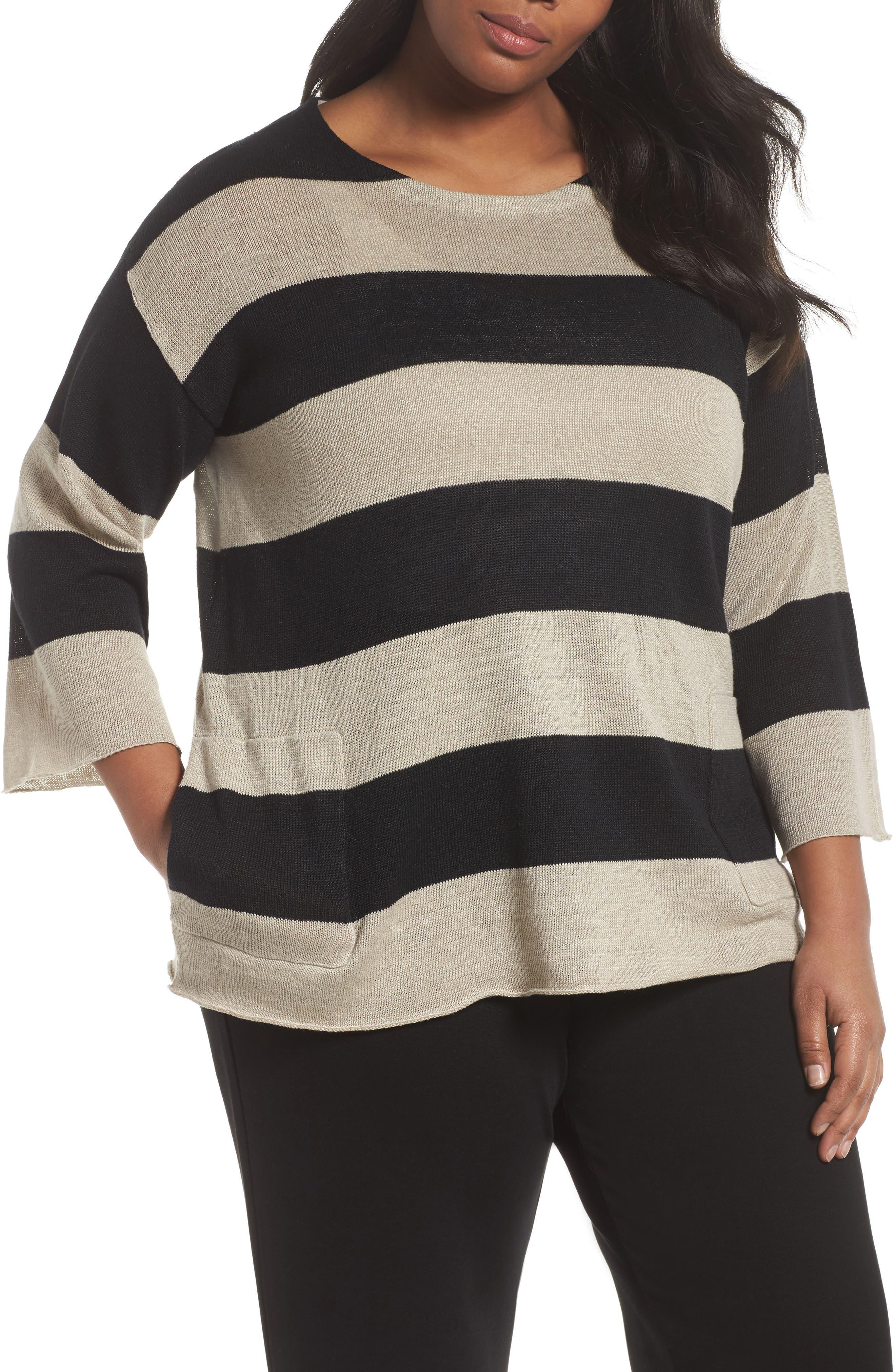Stripe Linen Sweater,                         Main,                         color, 008