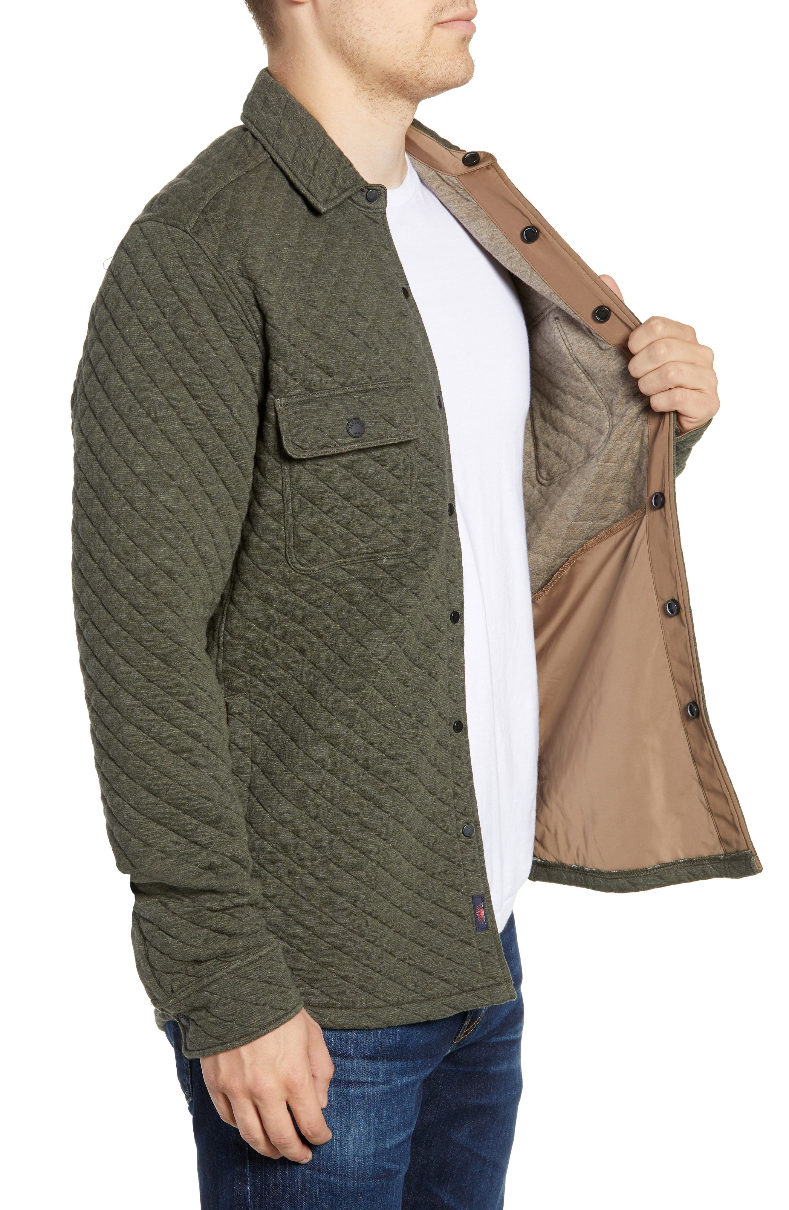 FAHERTY,                             Belmar Quilted Shirt Jacket,                             Alternate thumbnail 3, color,                             OLIVE HEATHER