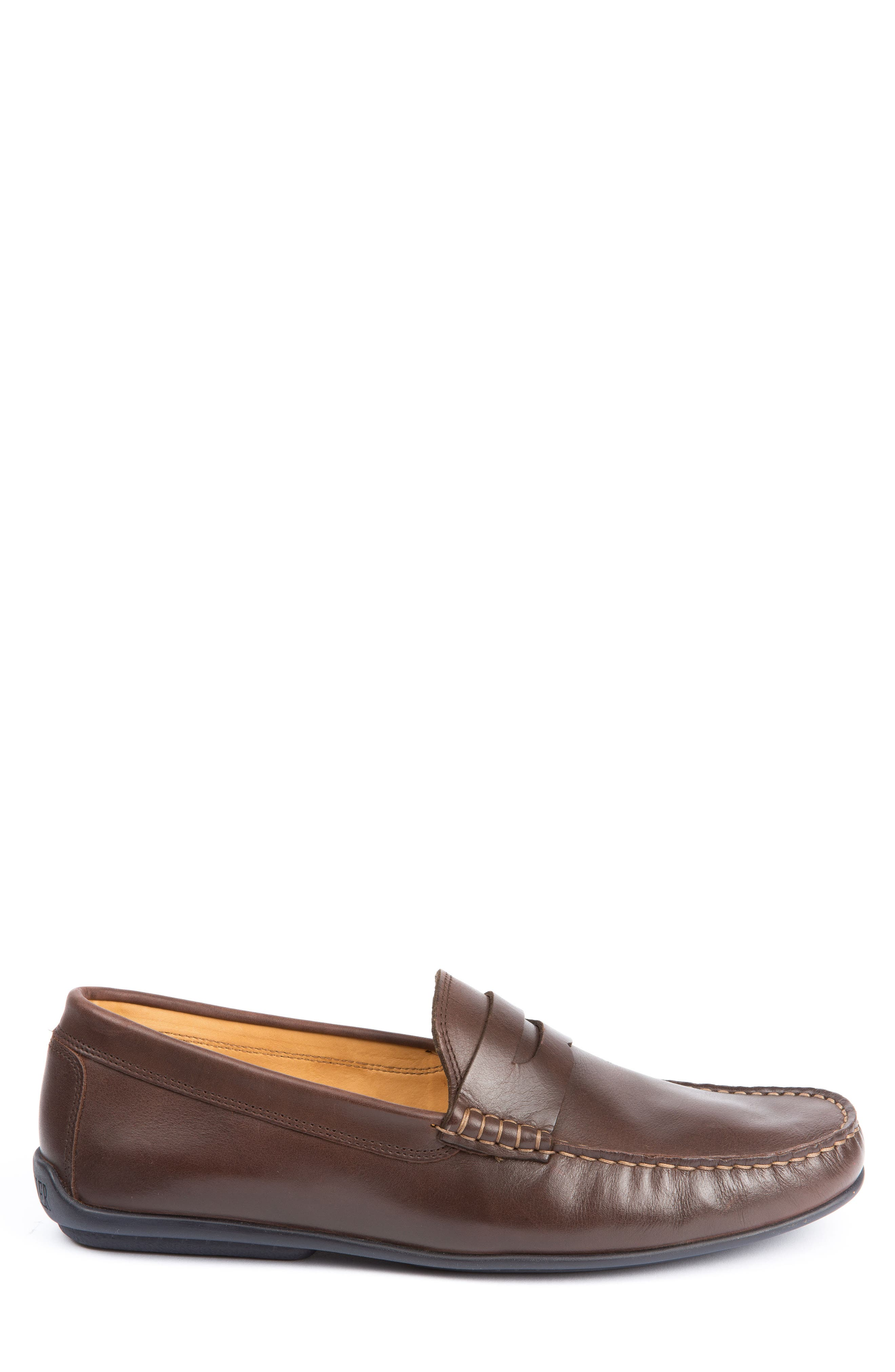 'Strattons' Driving Shoe,                             Alternate thumbnail 3, color,                             BROWN LEATHER/ NAVY