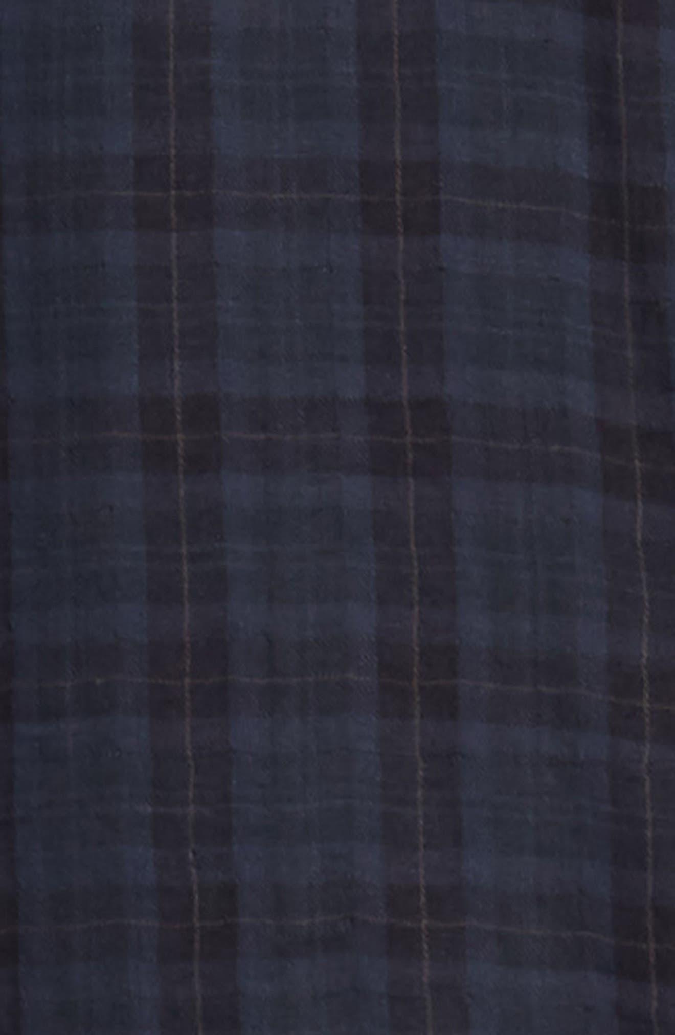 Slim Fit Plaid Double Knit Sport Shirt,                             Alternate thumbnail 6, color,                             SLATE
