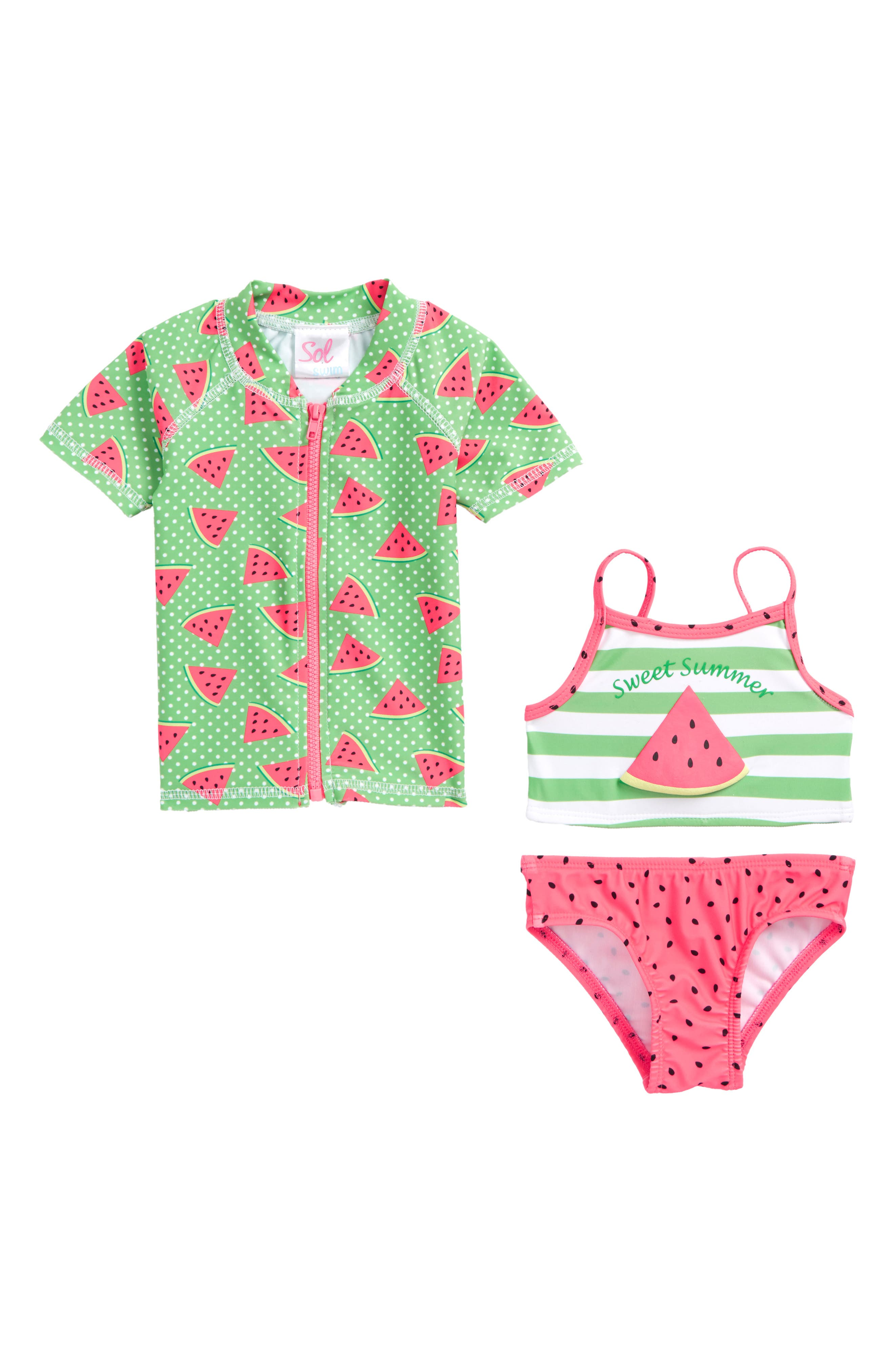 Sweet Summer Two-Piece Swimsuit with Rashguard,                         Main,                         color,