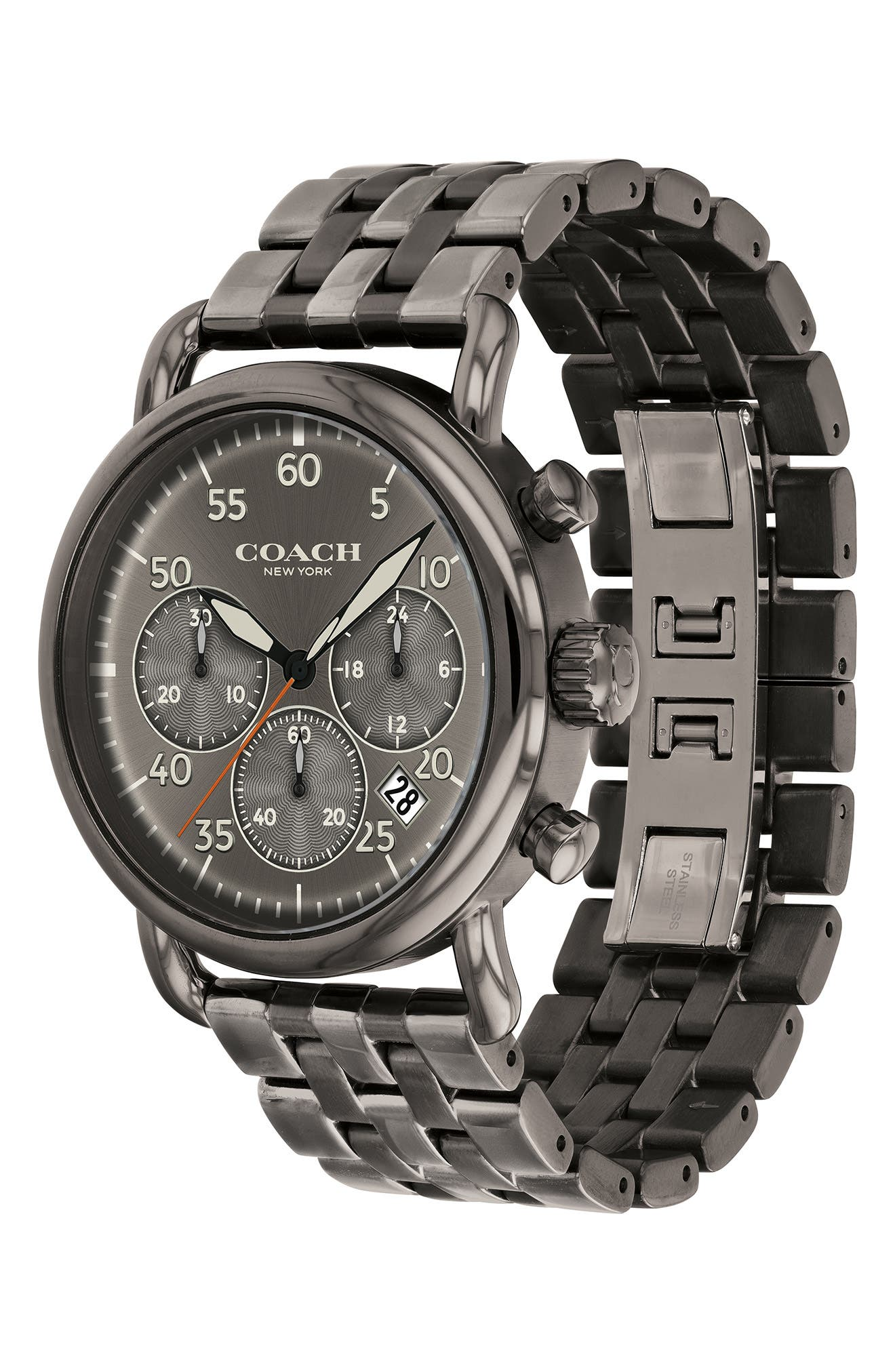 Delancey Sport Chronograph Bracelet Watch, 42mm,                             Alternate thumbnail 3, color,                             GUNMETAL