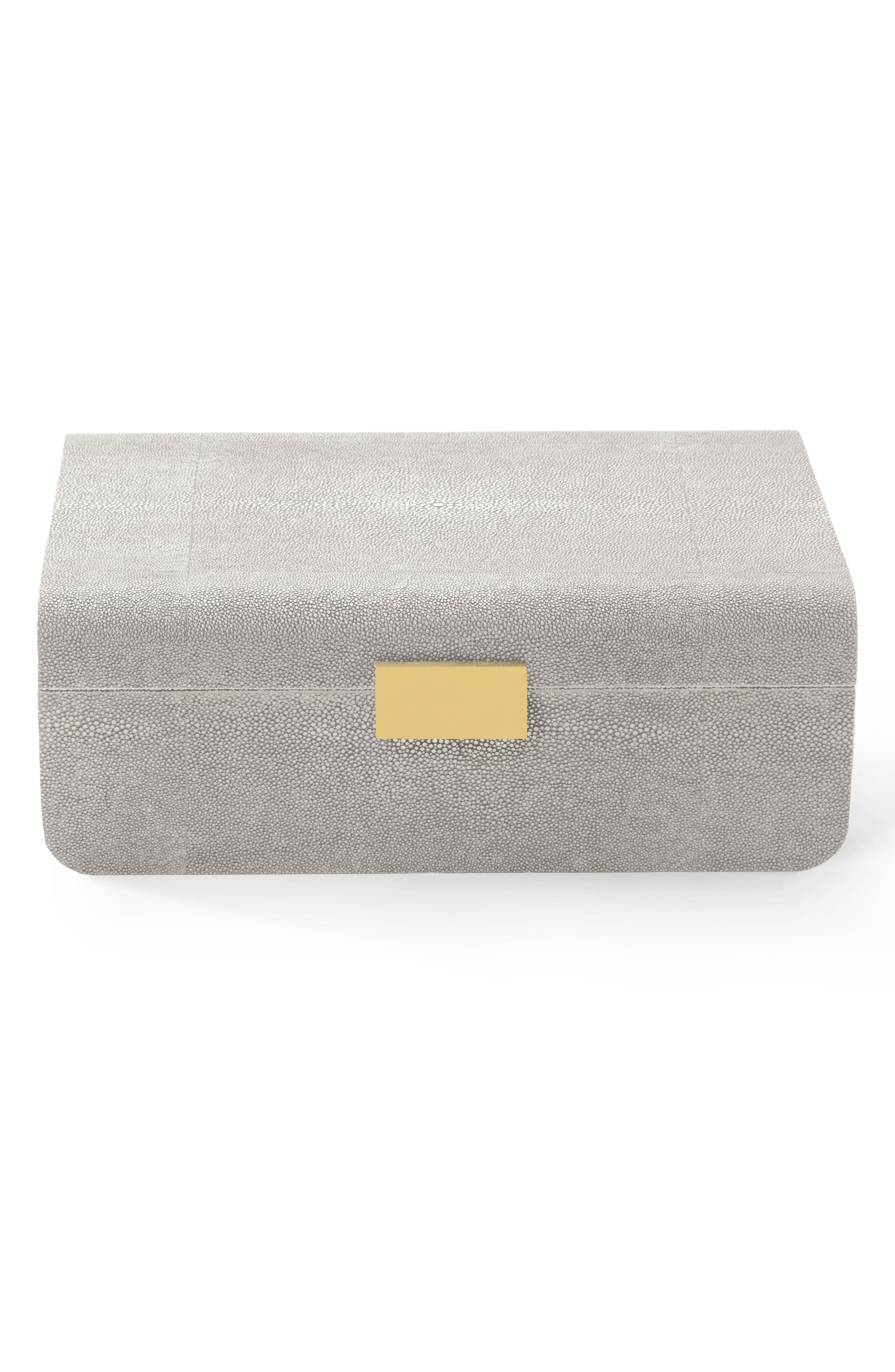 Modern Shagreen Jewelry Box, Main, color, 020