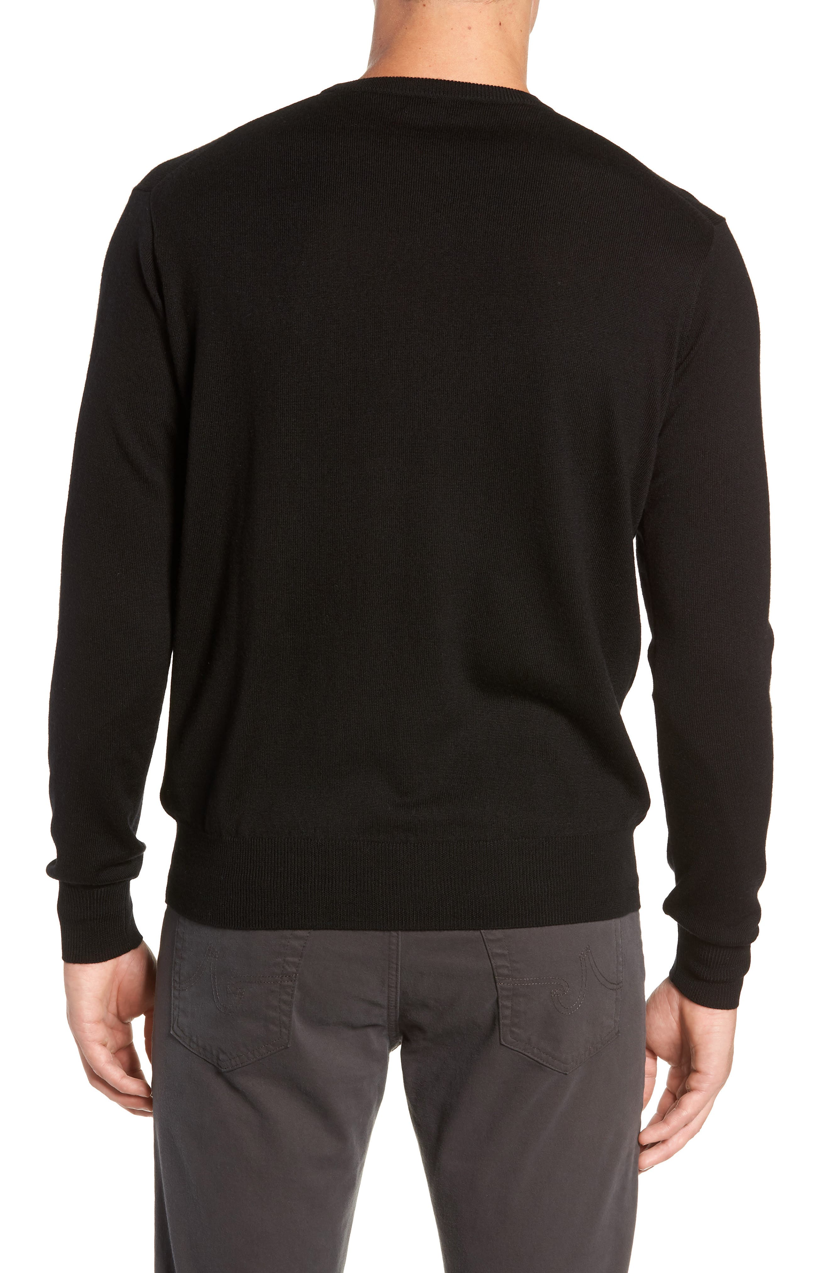 Crown Wool & Silk Sweater,                             Alternate thumbnail 2, color,                             BLACK