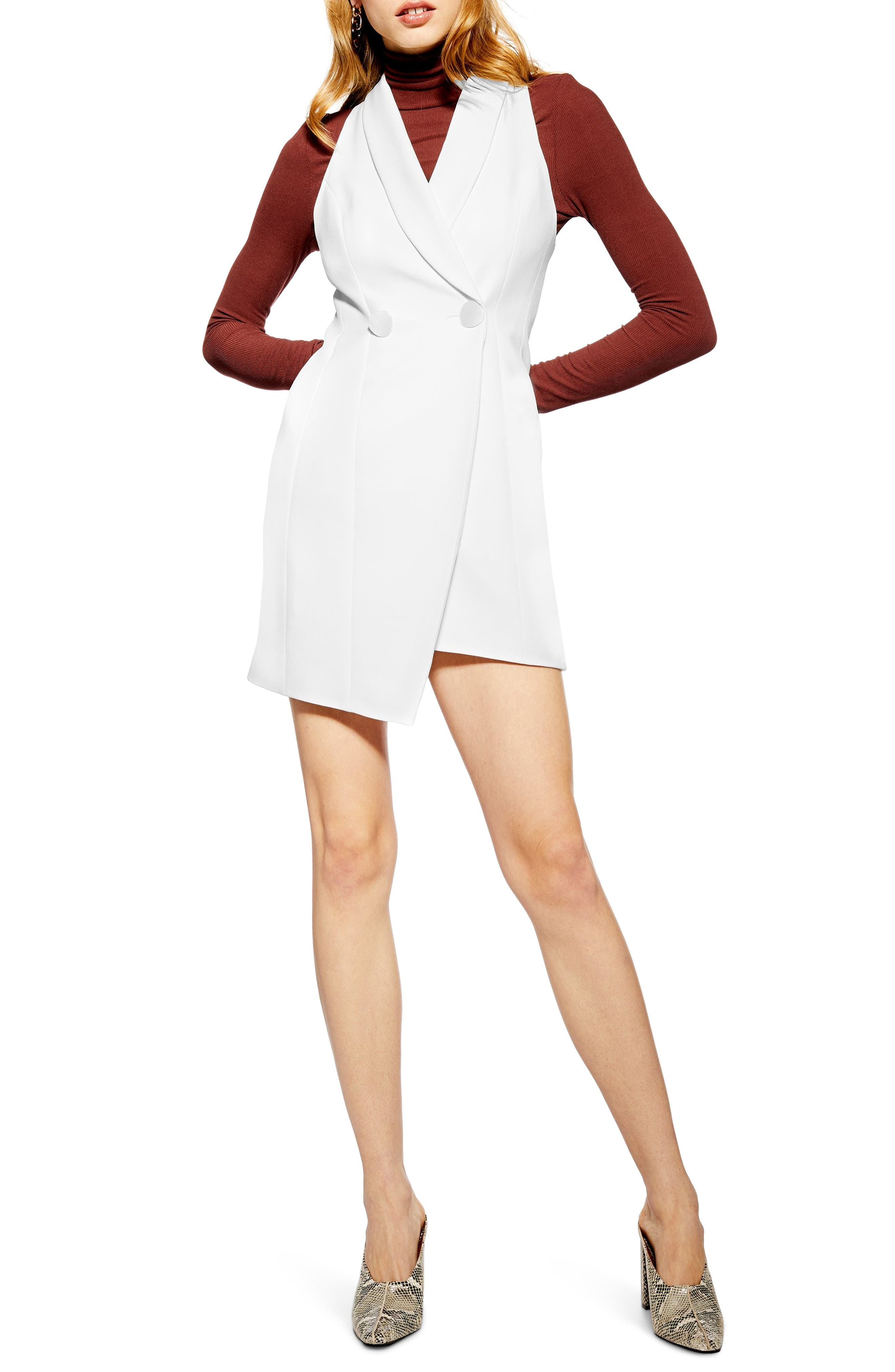 Topshop Sleeveless Tuxedo Minidress, US (fits like 6-8) - White