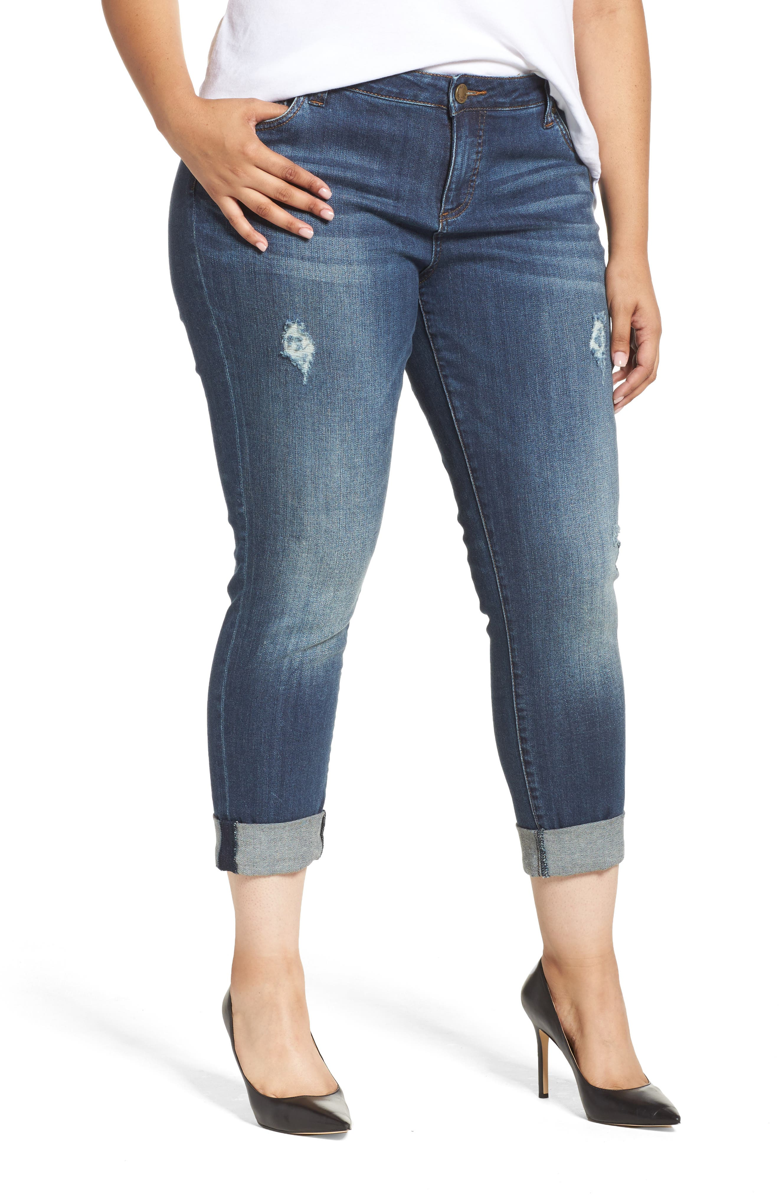 Plus Size Kut From The Kloth Catherine Ripped Boyfriend Jeans, Blue