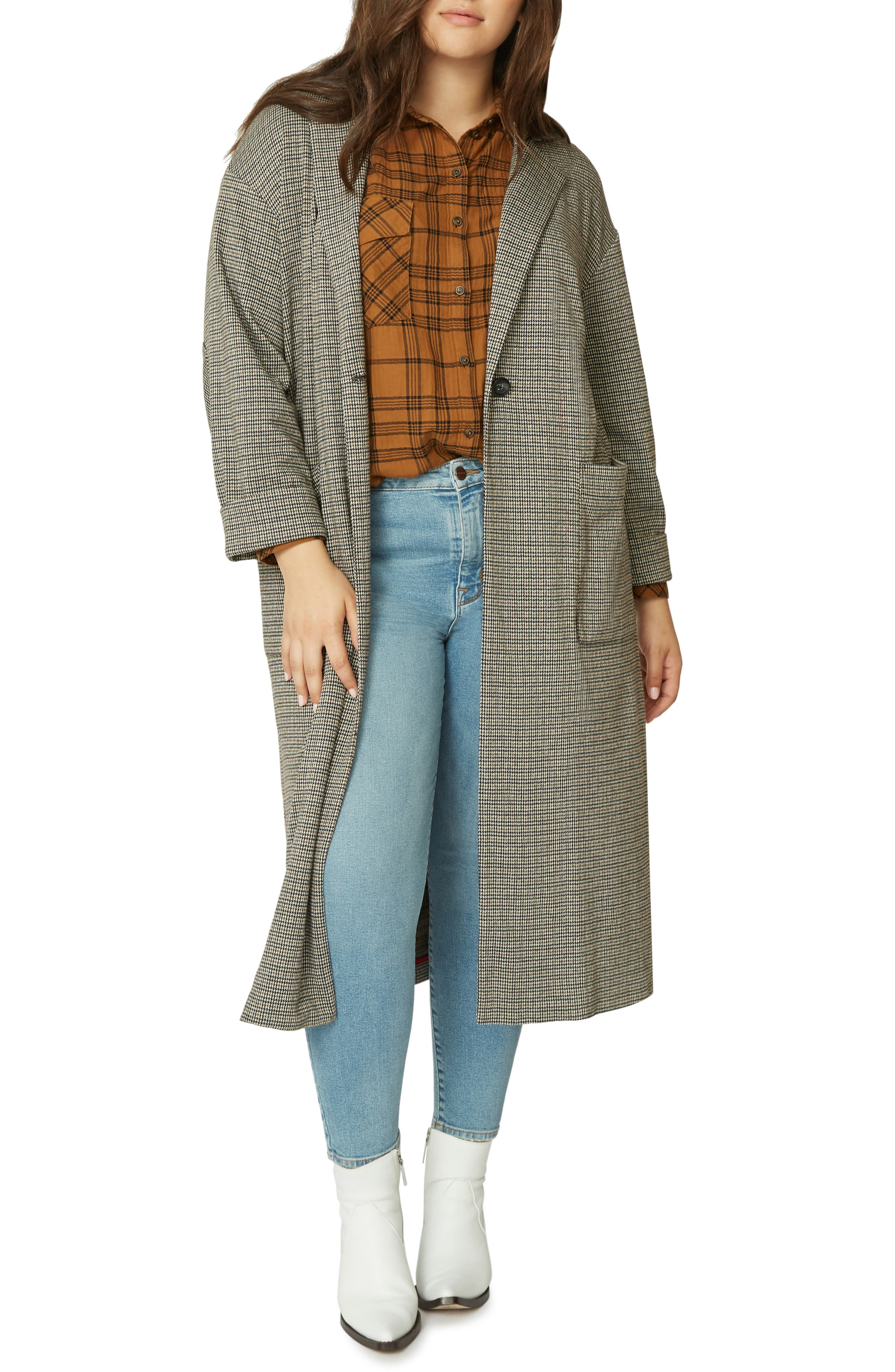 Bespoke Plaid Duster Jacket,                         Main,                         color, KNT HND CK