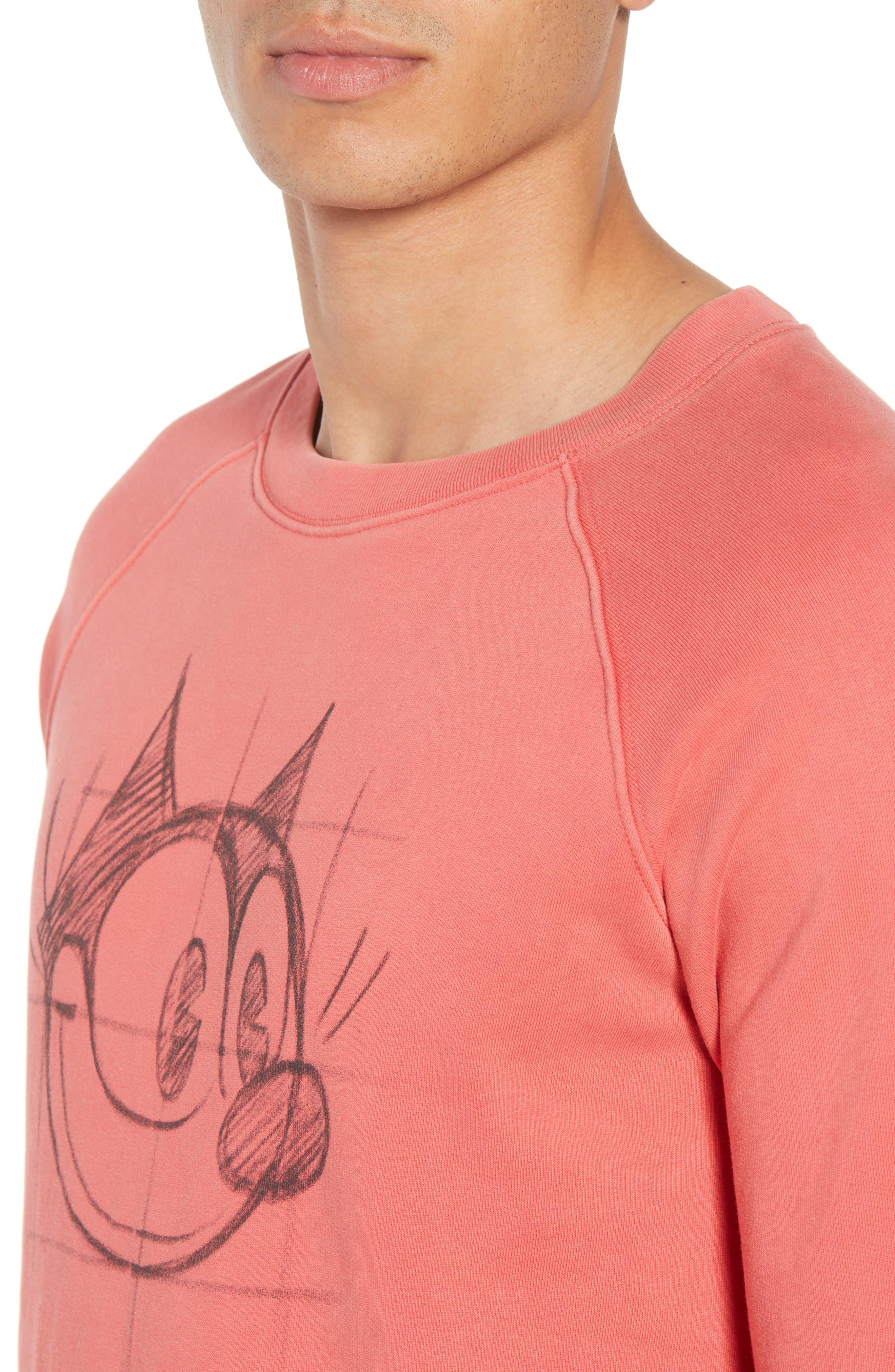 Amsterdams Blauw Felix the Cat Graphic Sweatshirt,                             Alternate thumbnail 4, color,                             RED GLOW
