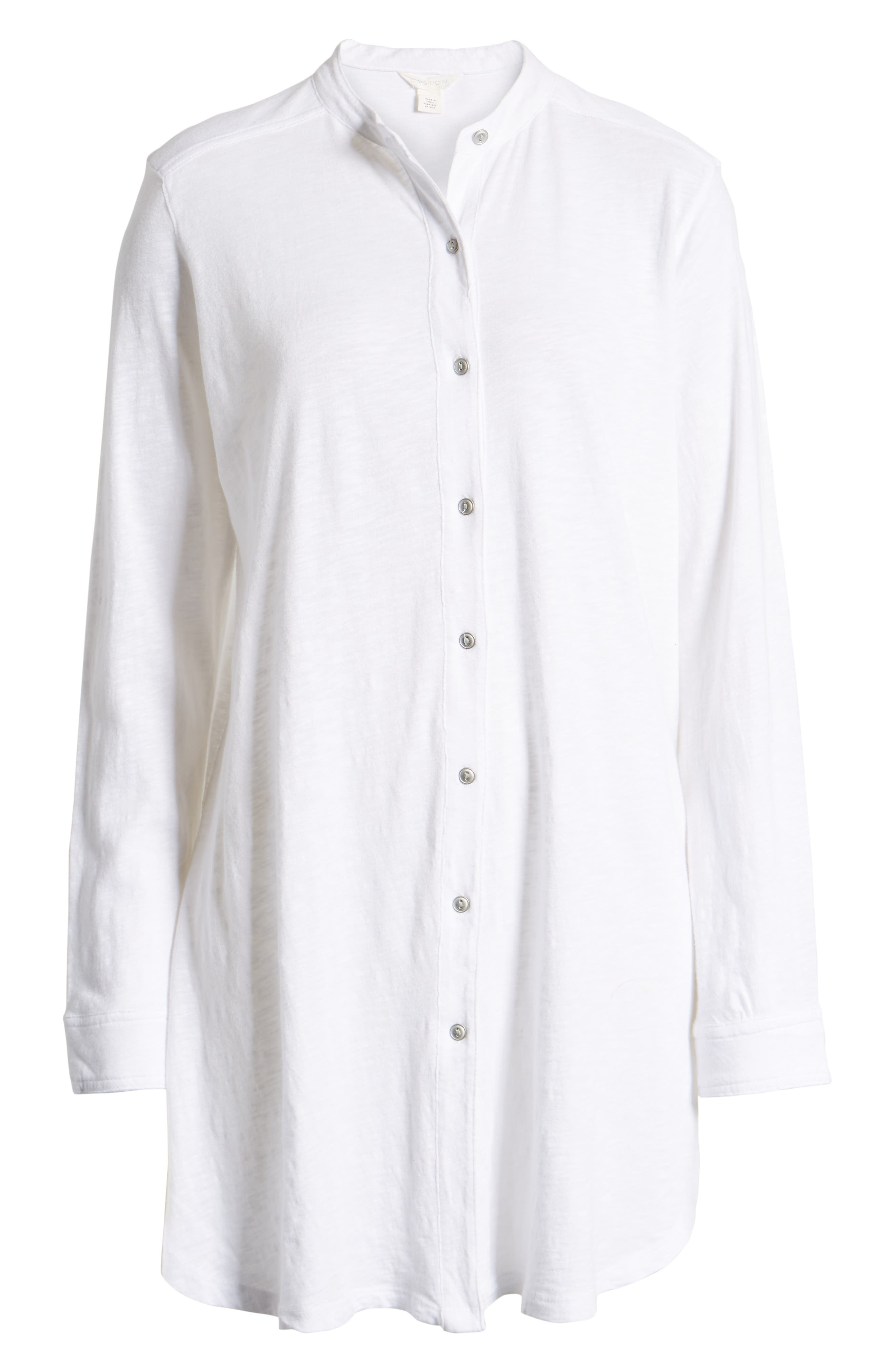 CASLON<SUP>®</SUP>,                             Button Down Knit Tunic,                             Alternate thumbnail 6, color,                             WHITE