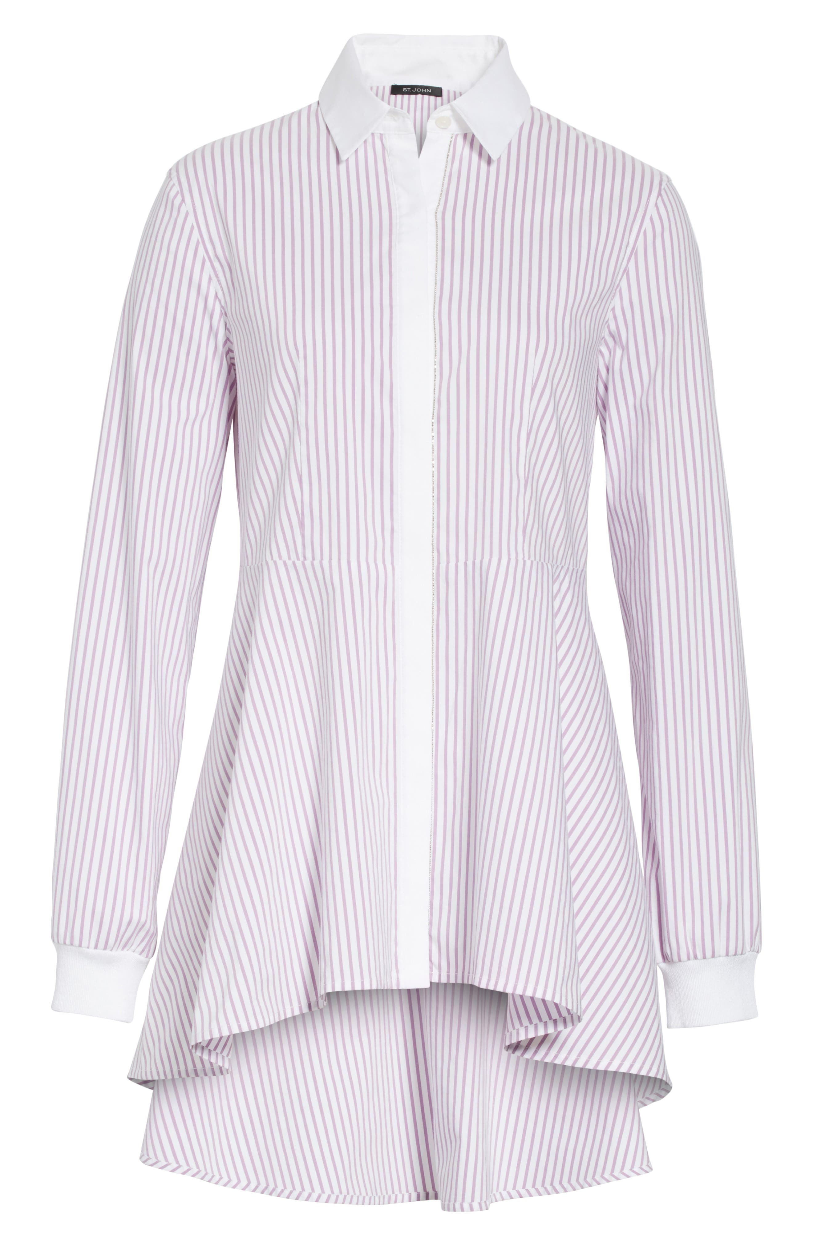 Pinstripe Cotton Blend Top,                             Alternate thumbnail 6, color,                             680