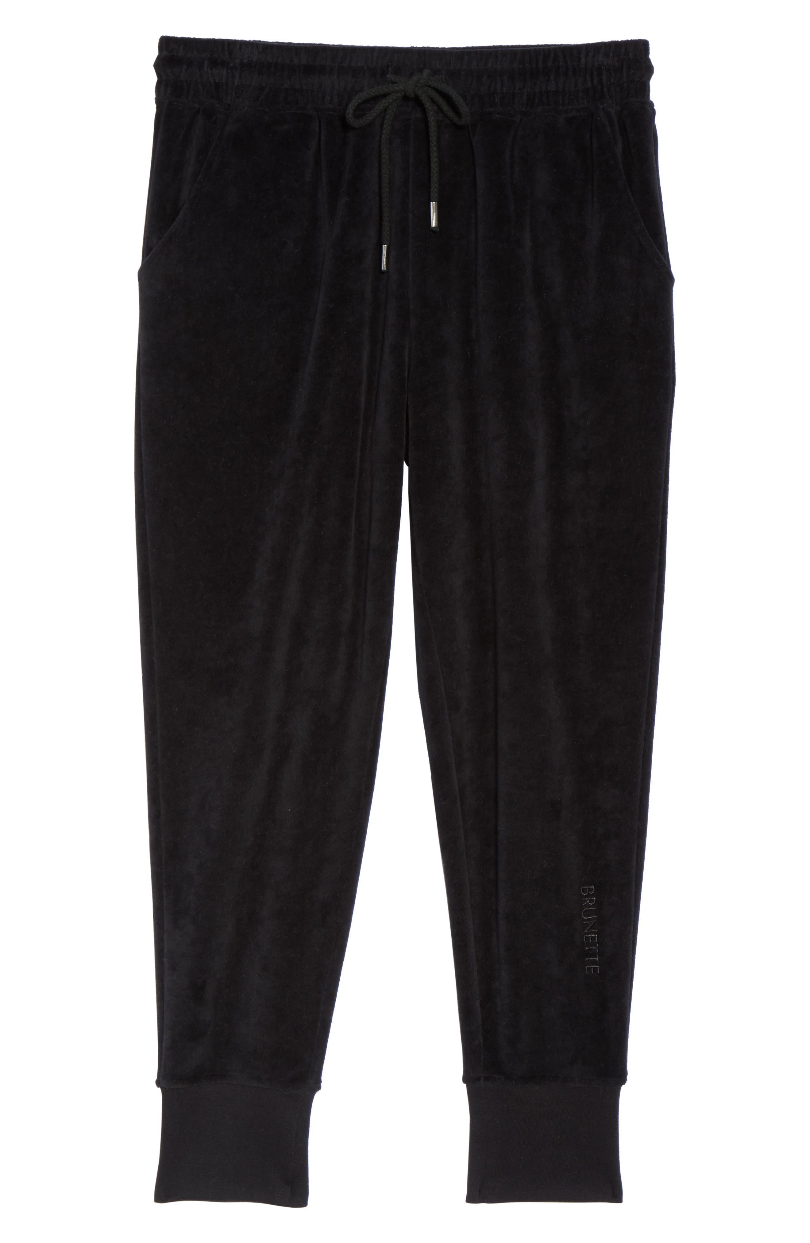 Brunette Embroidered Velour Jogger Pants,                             Alternate thumbnail 6, color,                             001