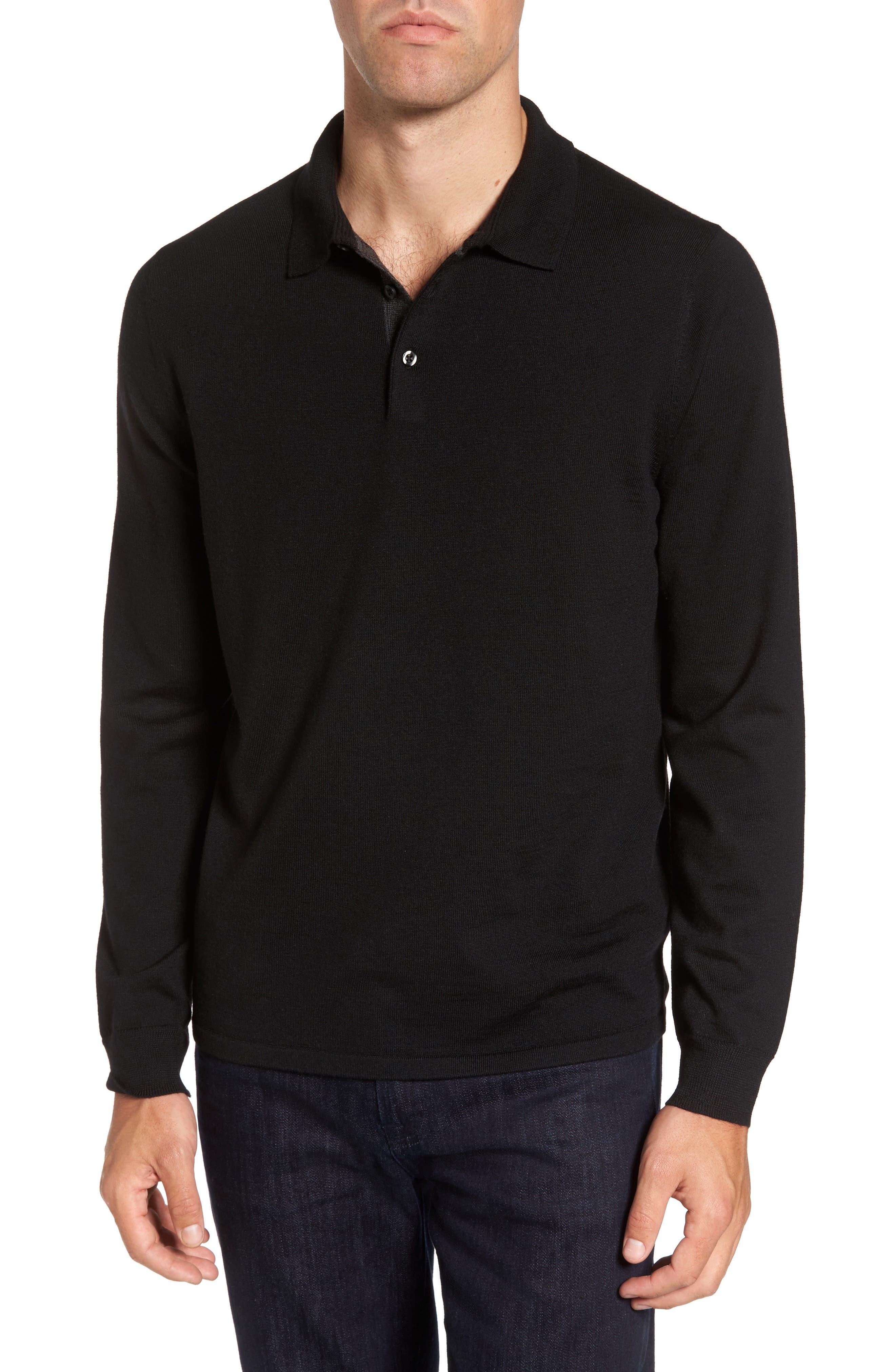 Nordstrom Shop Merino Wool Polo Sweater, Black