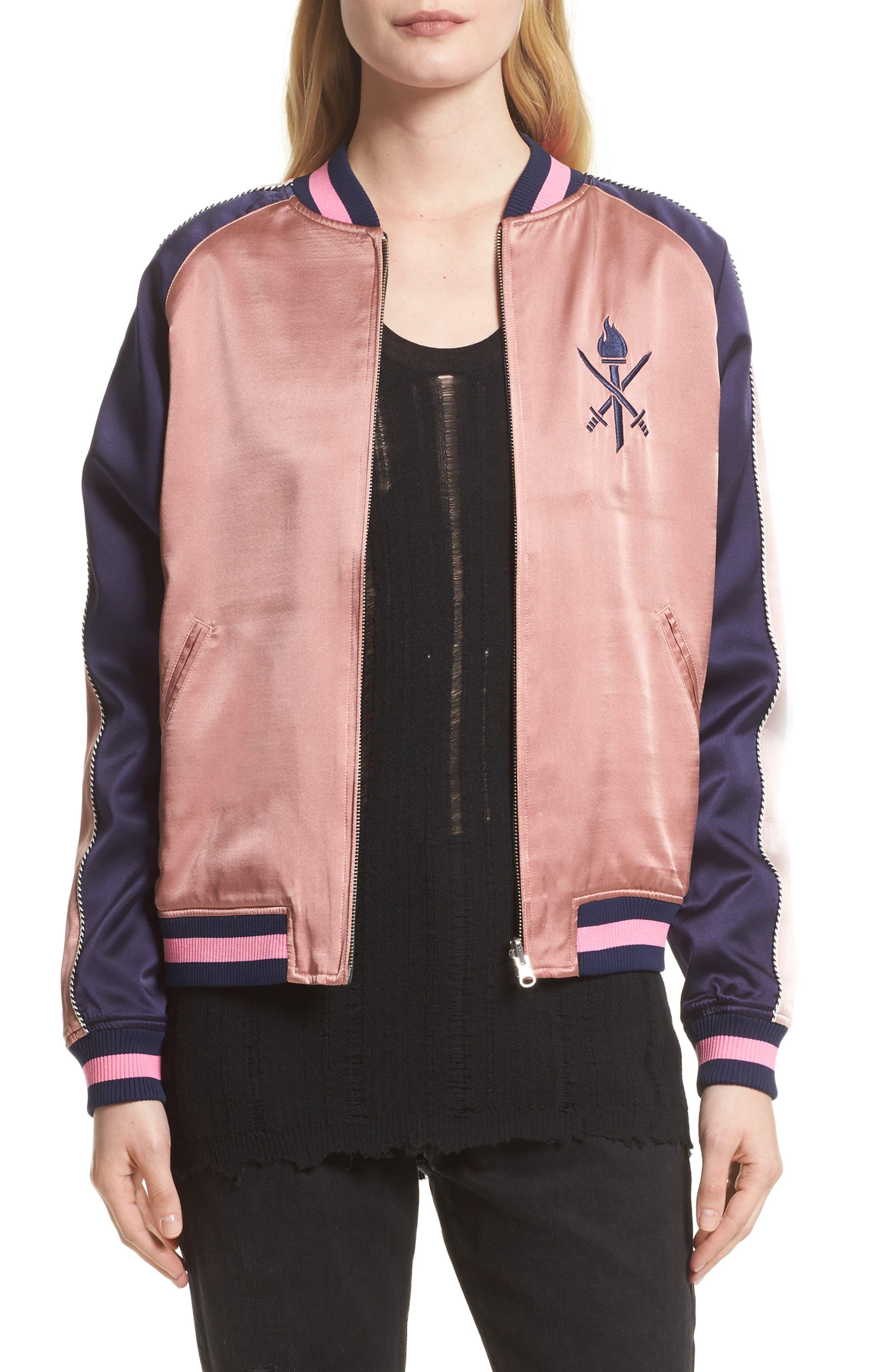Reversible Silk Bomber Jacket,                         Main,                         color, 695