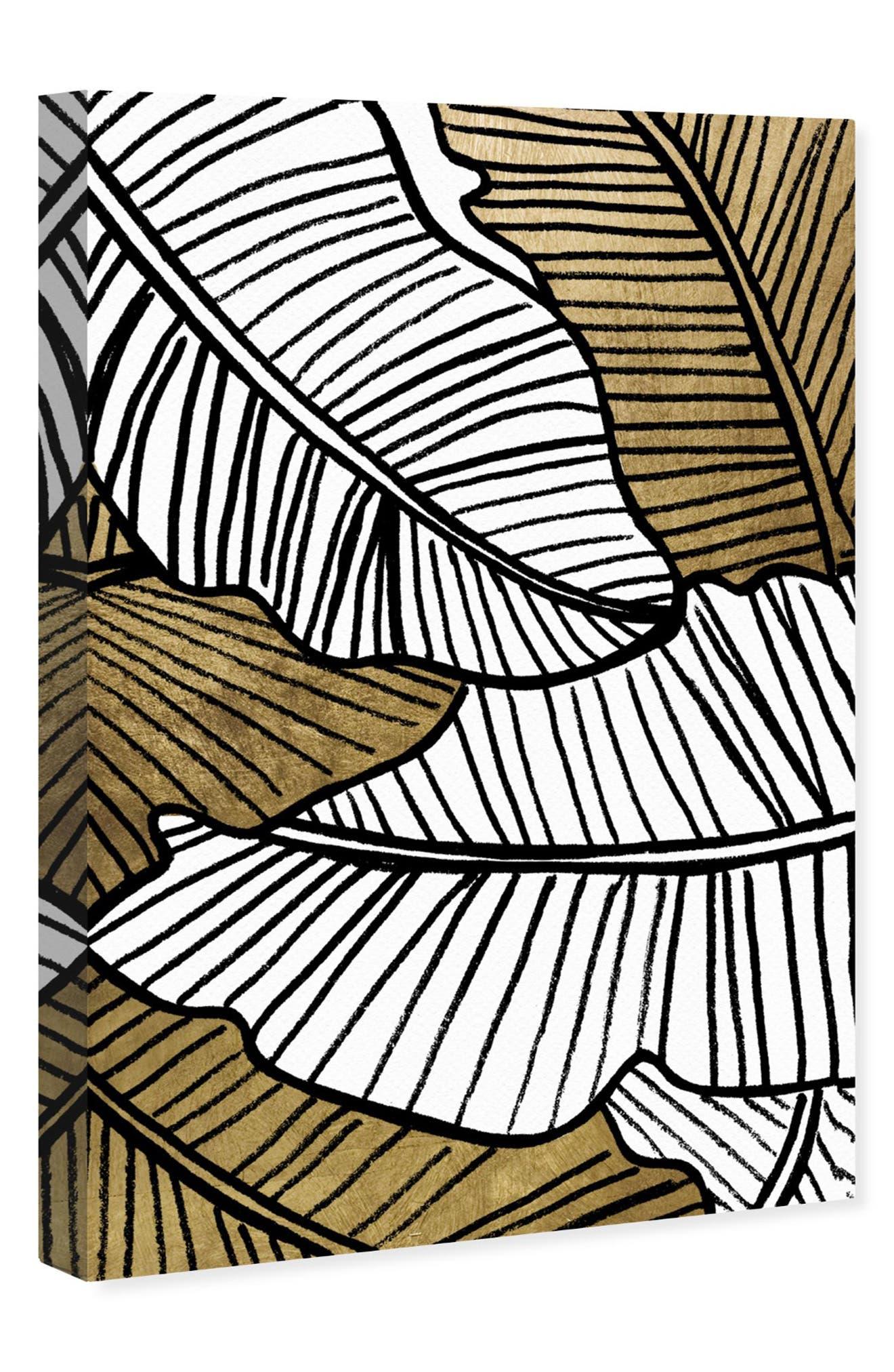 Golden Leaf Canvas Wall Art,                             Alternate thumbnail 3, color,                             BLACK WHITE GOLD