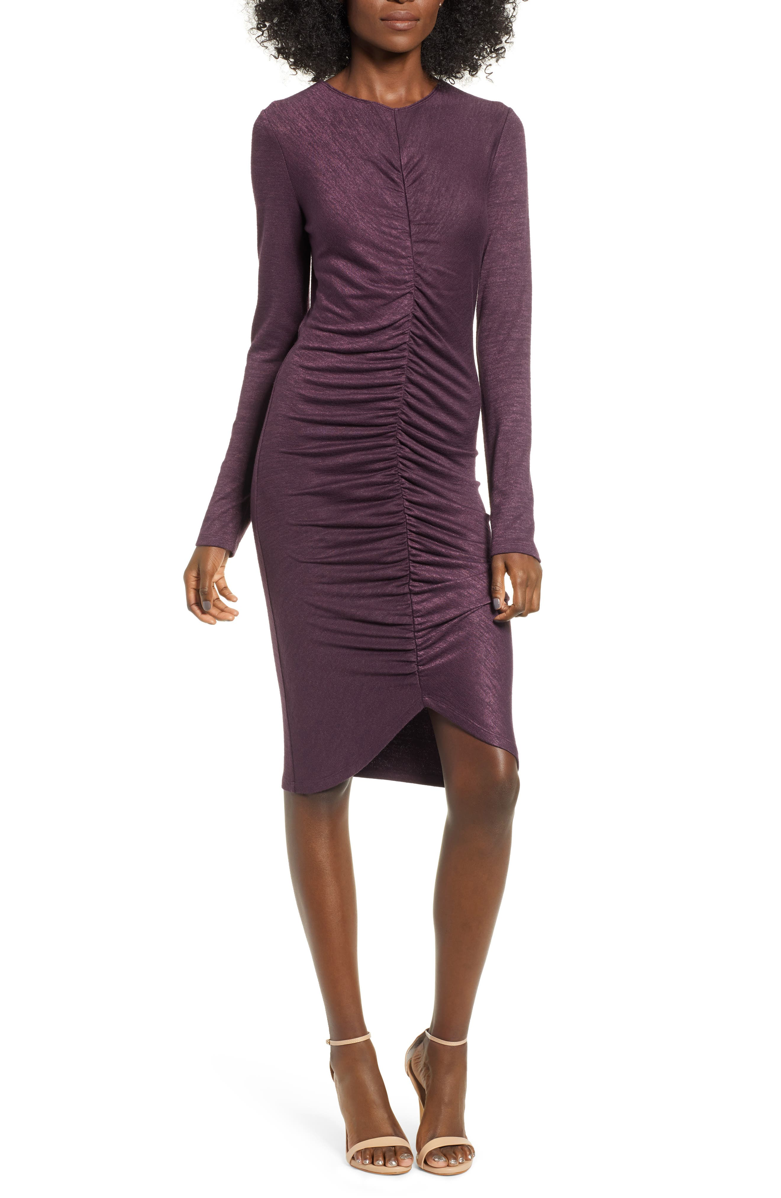 Leith Ruched Front Dress, Purple