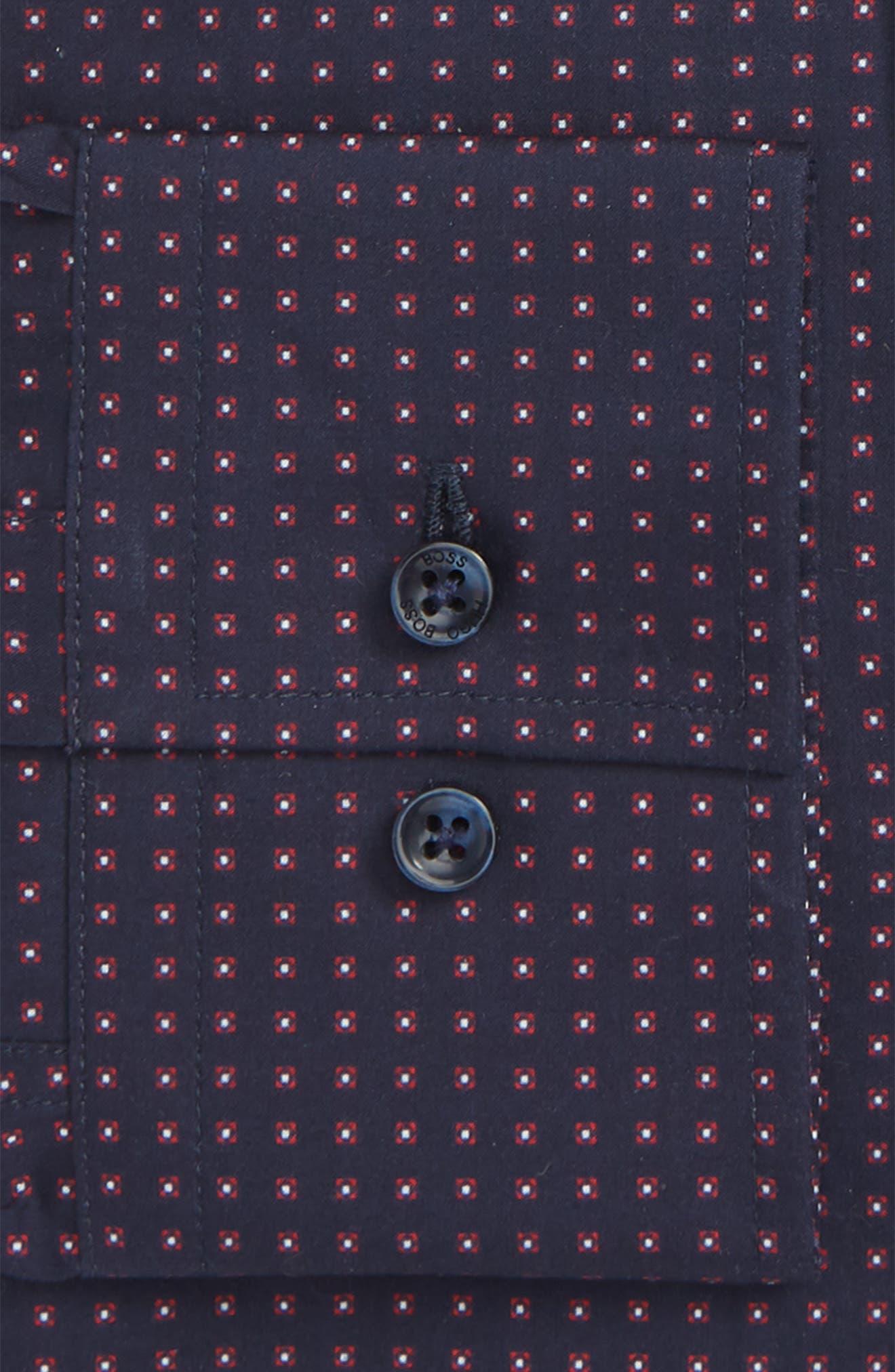 Jenno Slim Fit Dot Dress Shirt,                             Alternate thumbnail 6, color,                             NAVY
