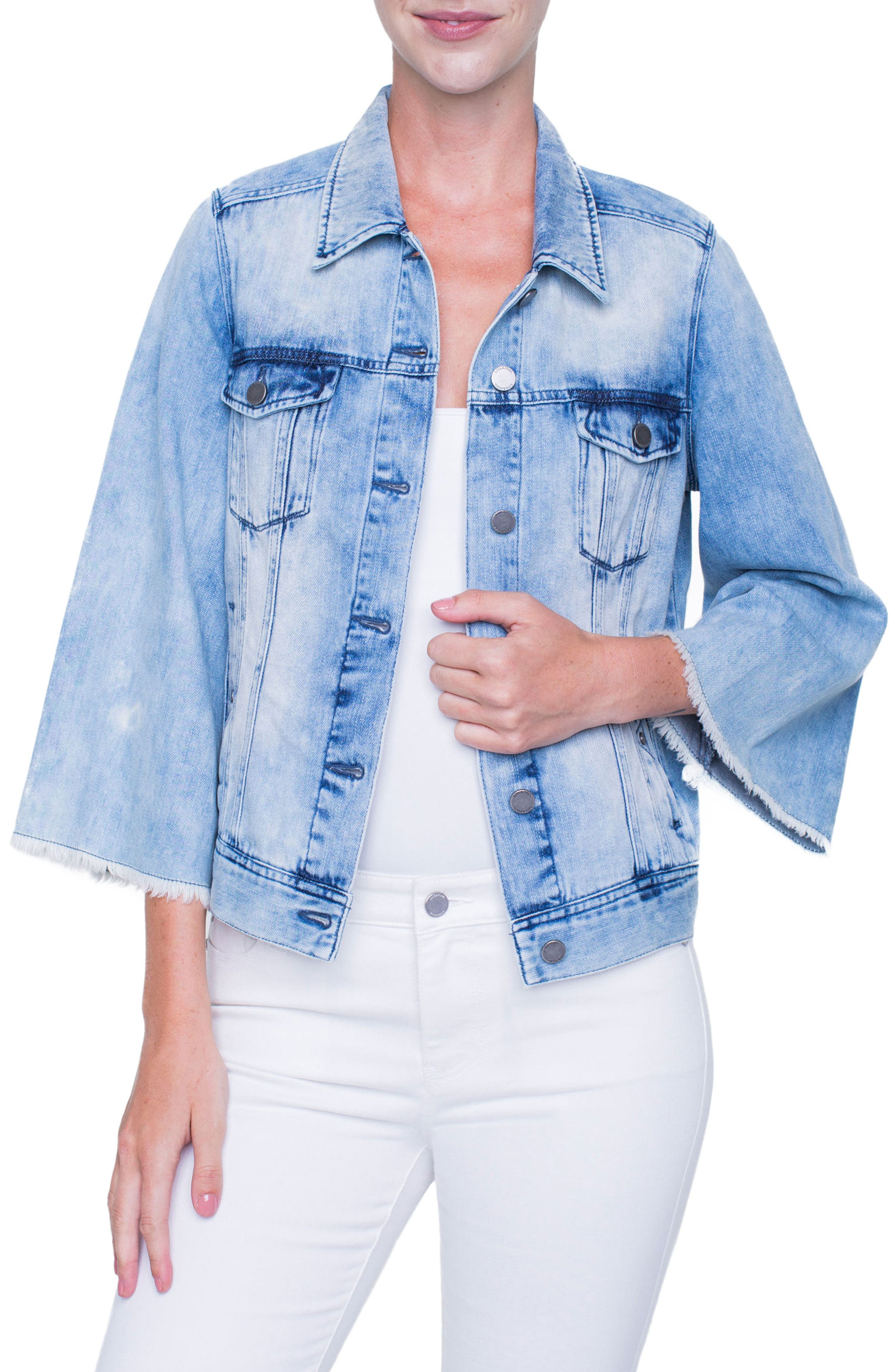 Bell Sleeve Jean Jacket,                         Main,                         color, 401