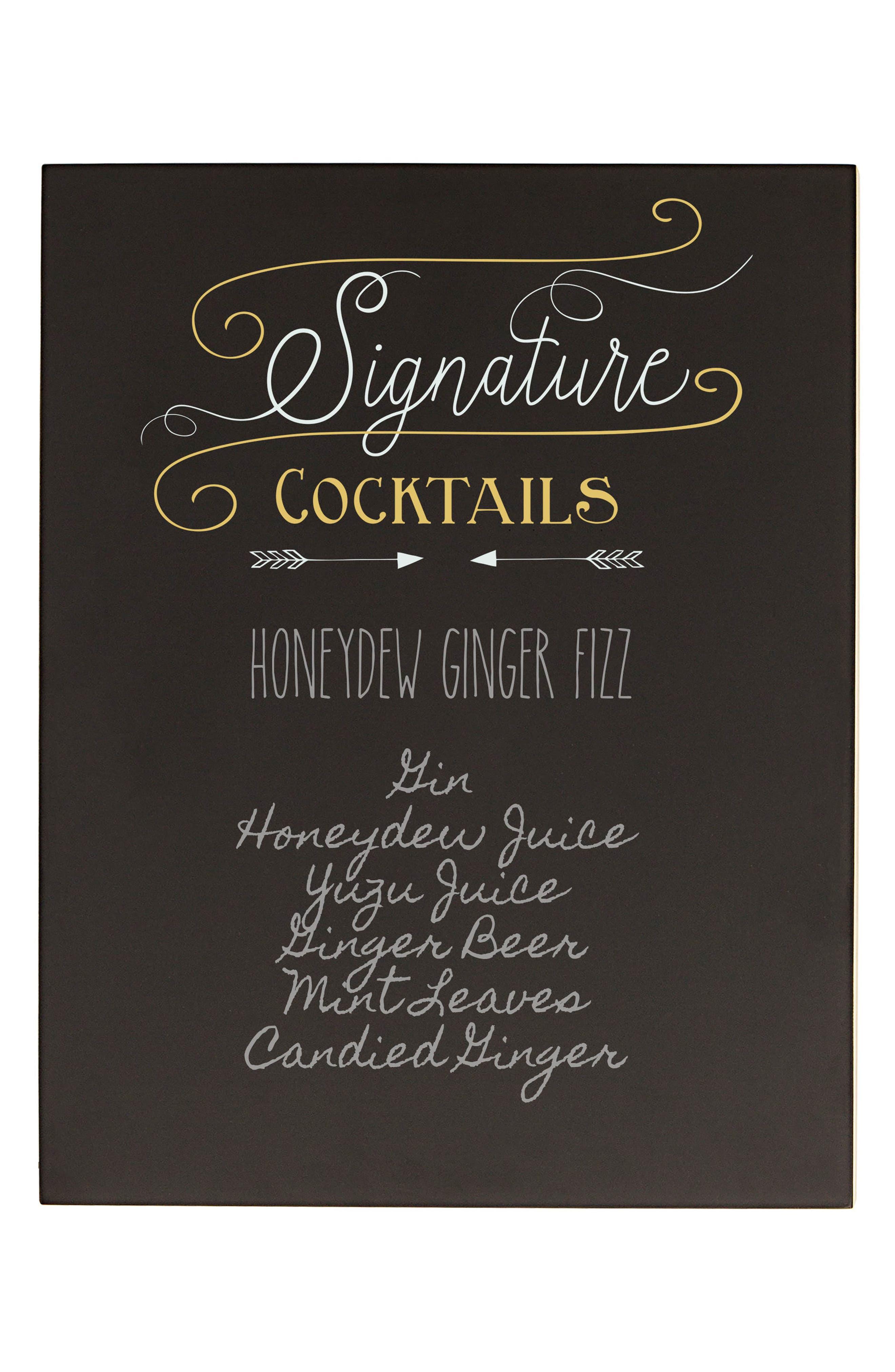 Cocktail Menu Chalkboard Sign,                             Alternate thumbnail 2, color,                             001