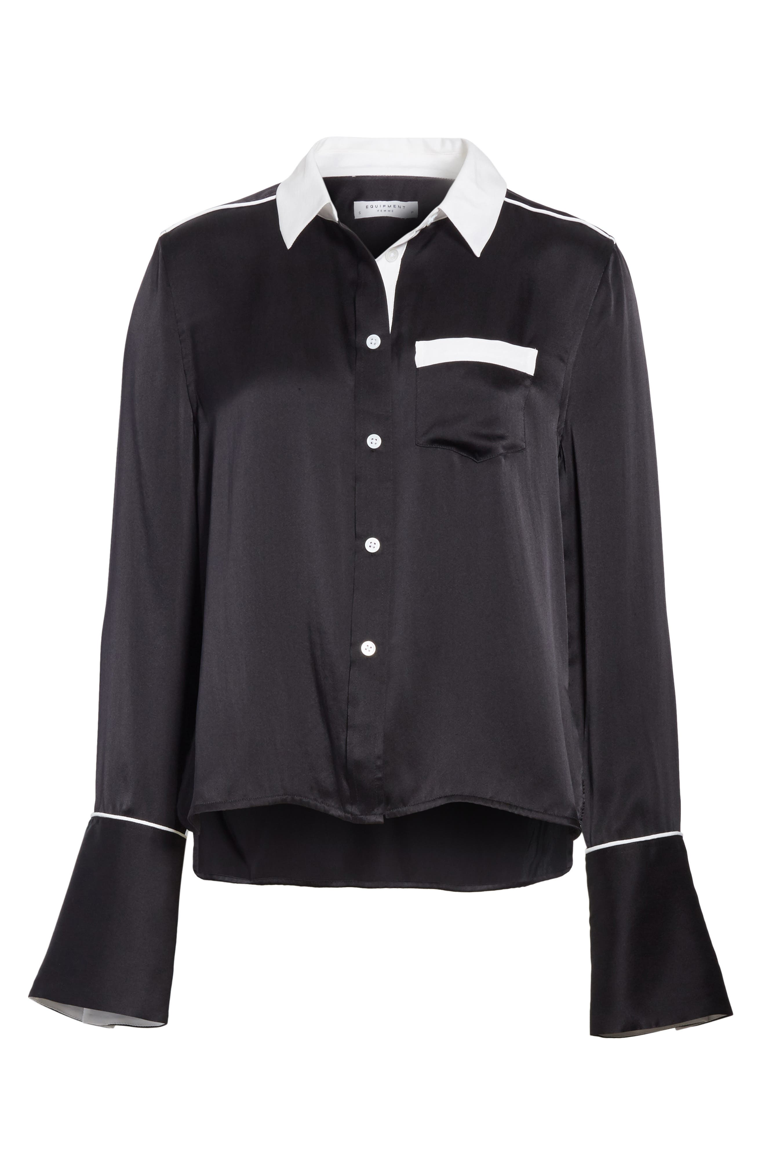 EQUIPMENT,                             Huntley Contrast Silk Shirt,                             Alternate thumbnail 6, color,                             003