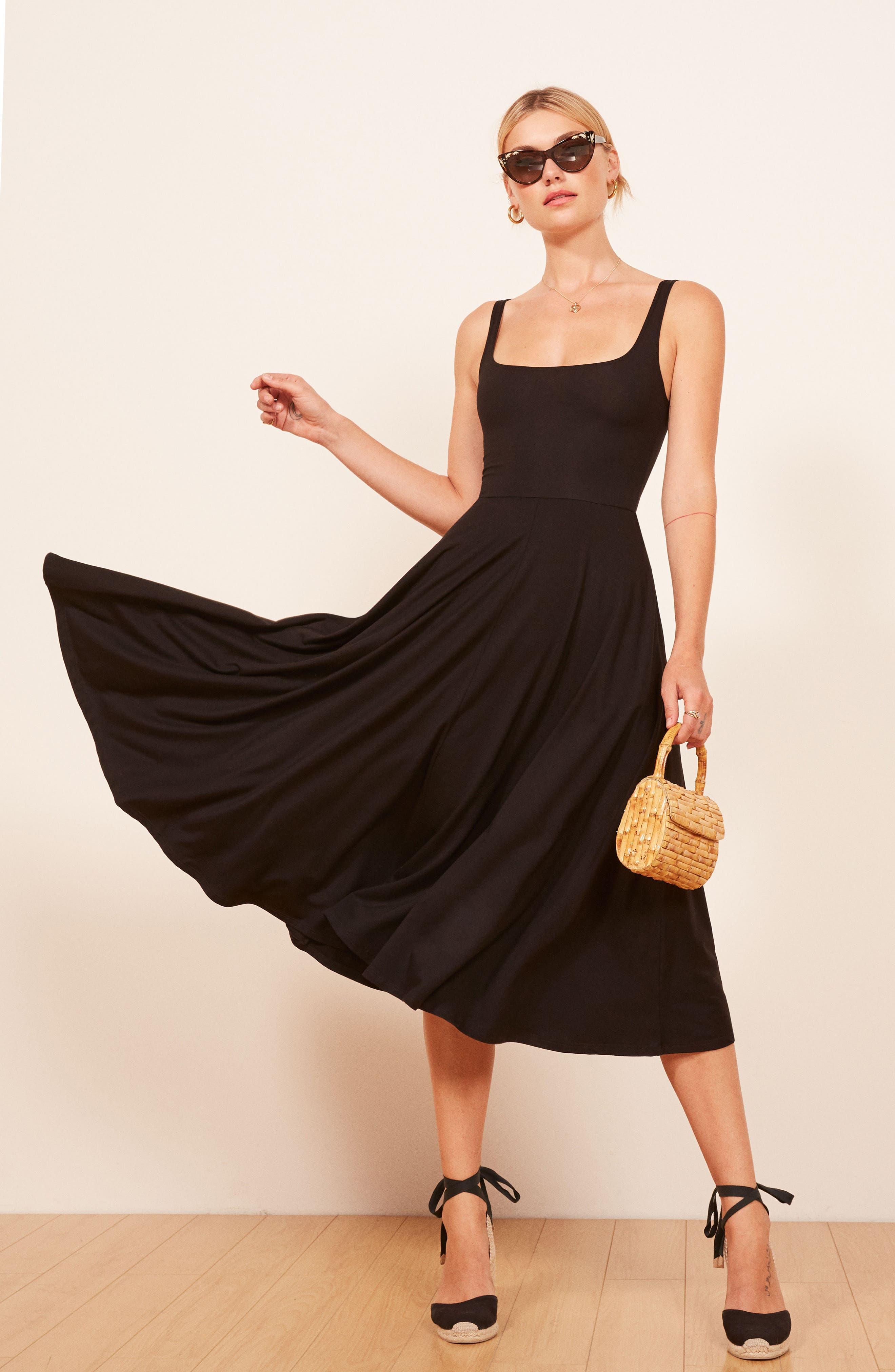 REFORMATION,                             Rou Midi Fit & Flare Dress,                             Alternate thumbnail 6, color,                             BLACK