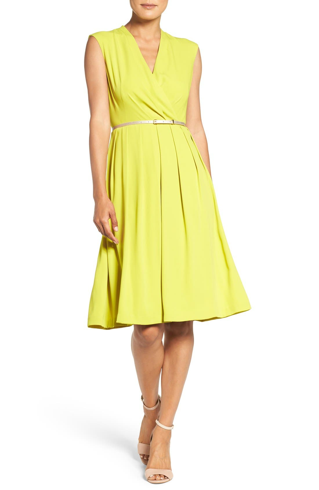 Belted Woven Fit & Flare Dress,                             Alternate thumbnail 10, color,