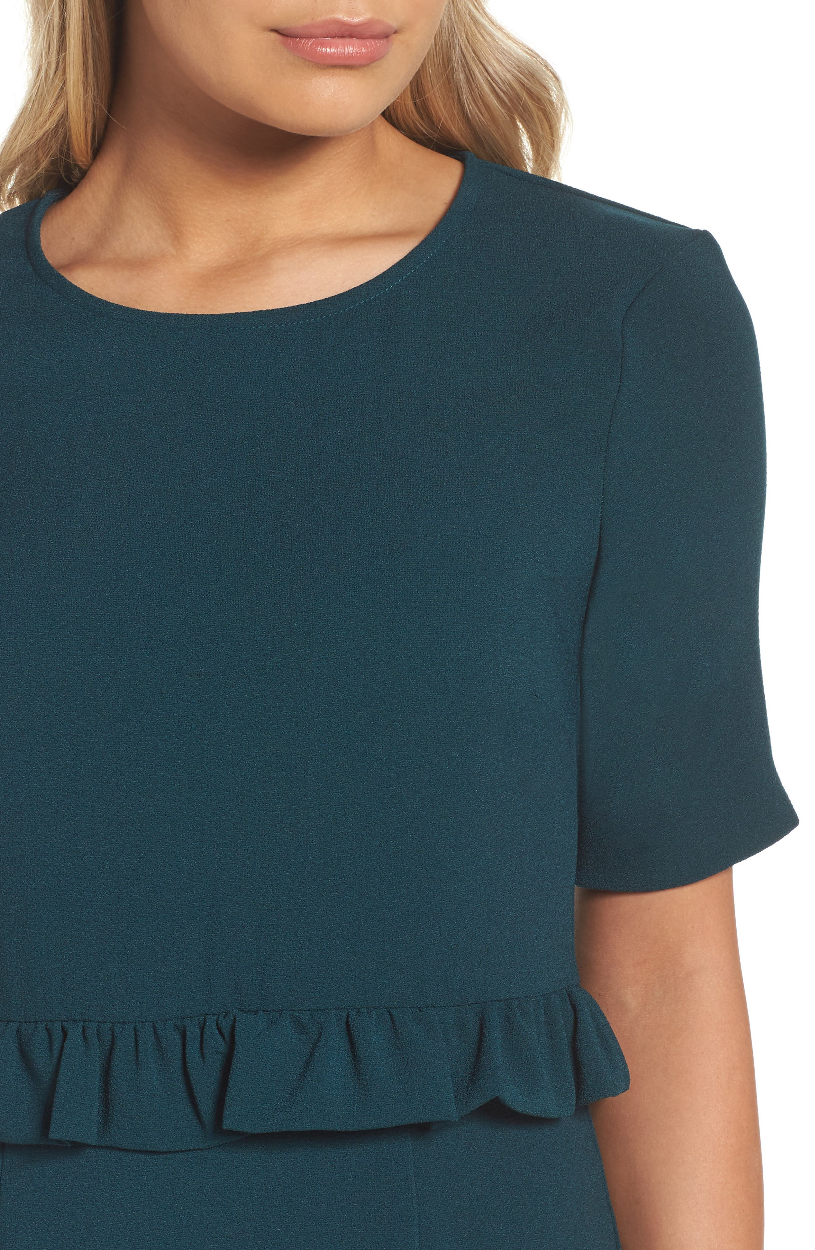 Ruffle Crepe Sheath Dress,                             Alternate thumbnail 4, color,                             345