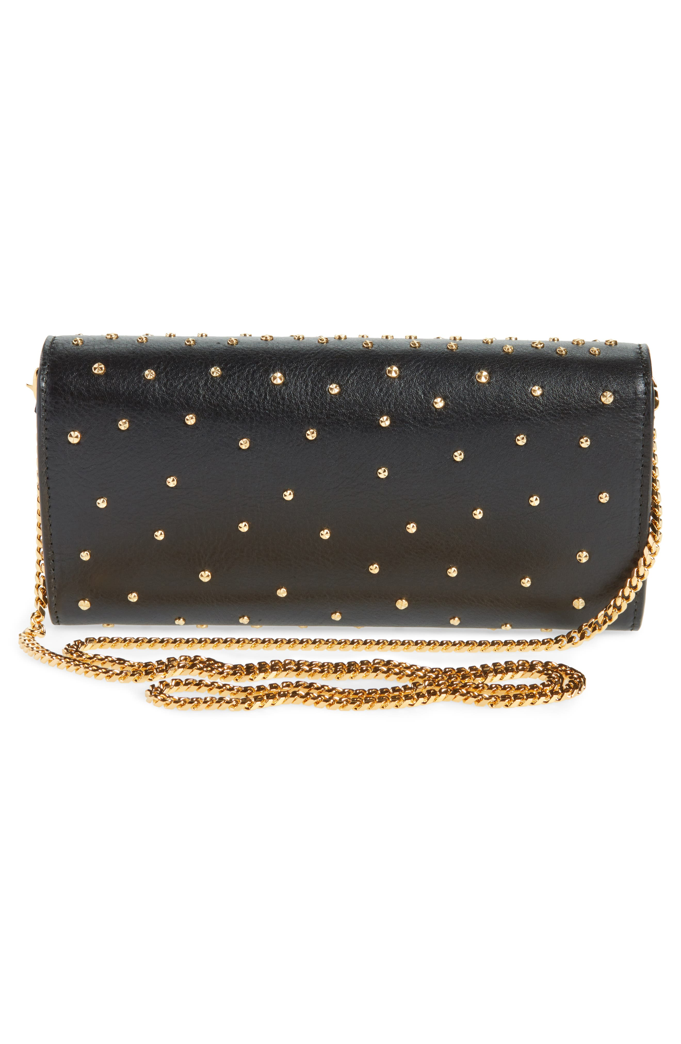 Studded Skull Leather Wallet on a Chain,                             Alternate thumbnail 3, color,                             BLACK