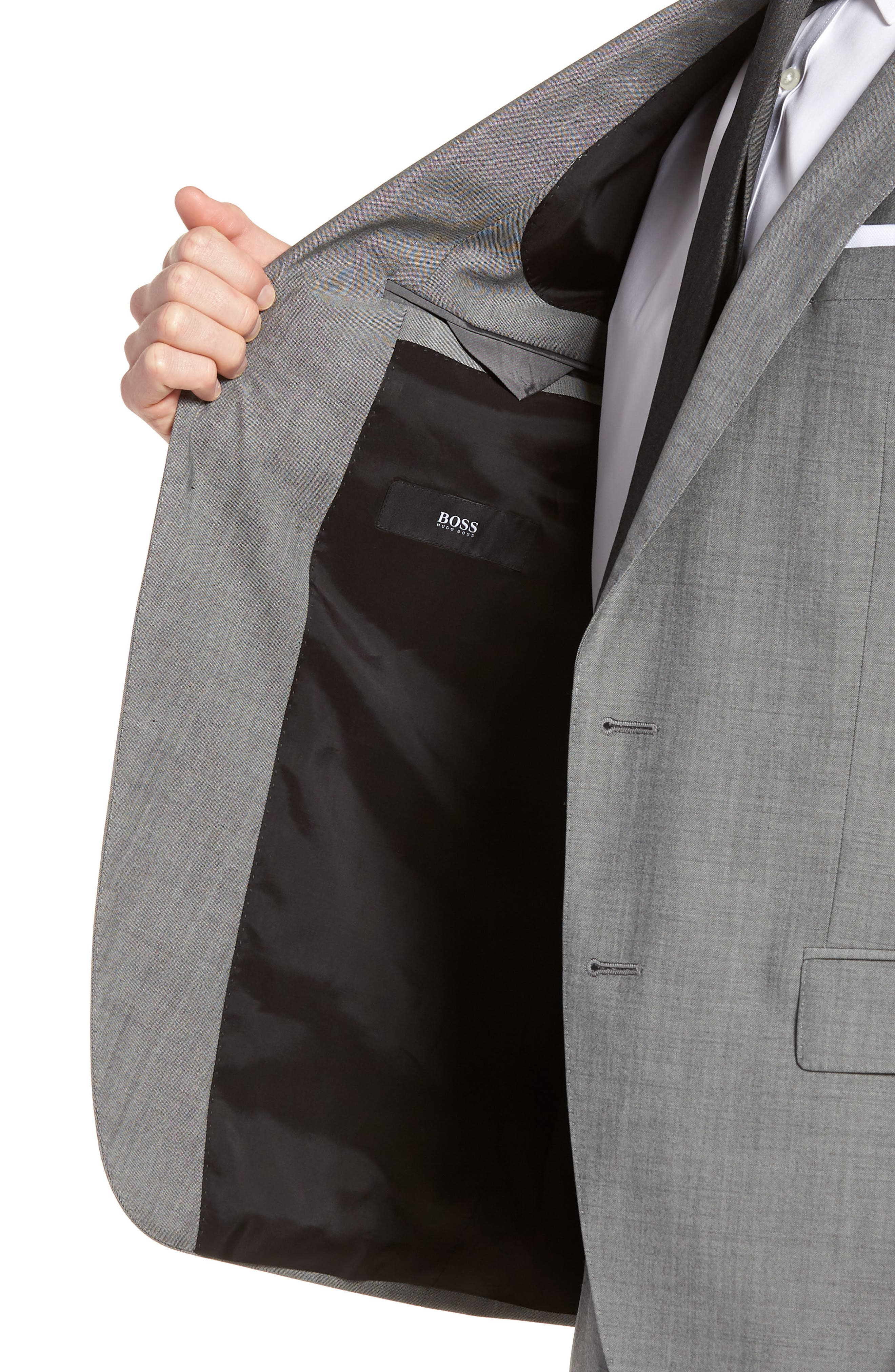 'Huge/Genius' Trim Fit Solid Wool Suit,                             Alternate thumbnail 4, color,                             PEARL GREY