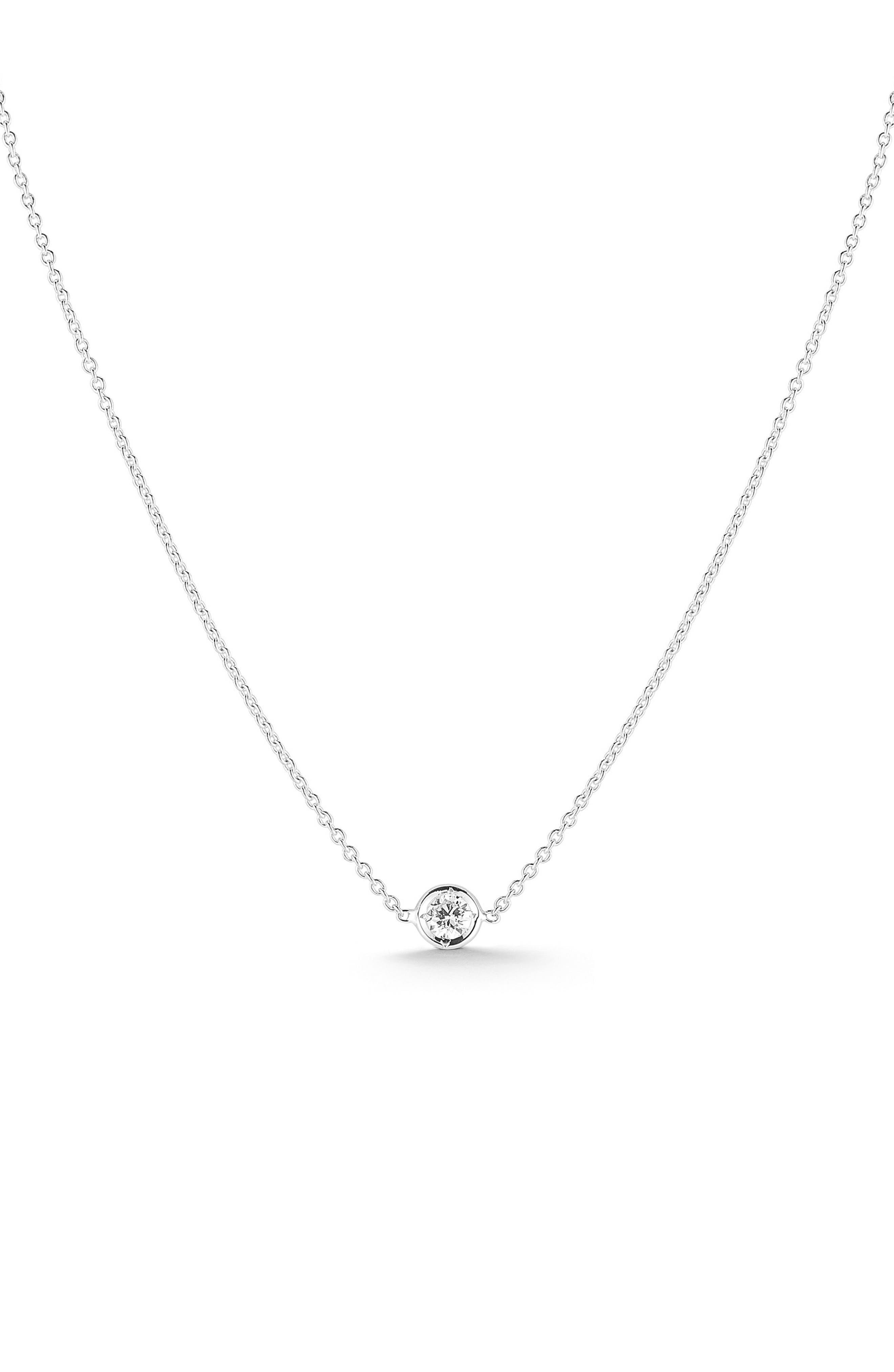 Tiny Treasures Diamond Bezel Necklace,                         Main,                         color, WHITE