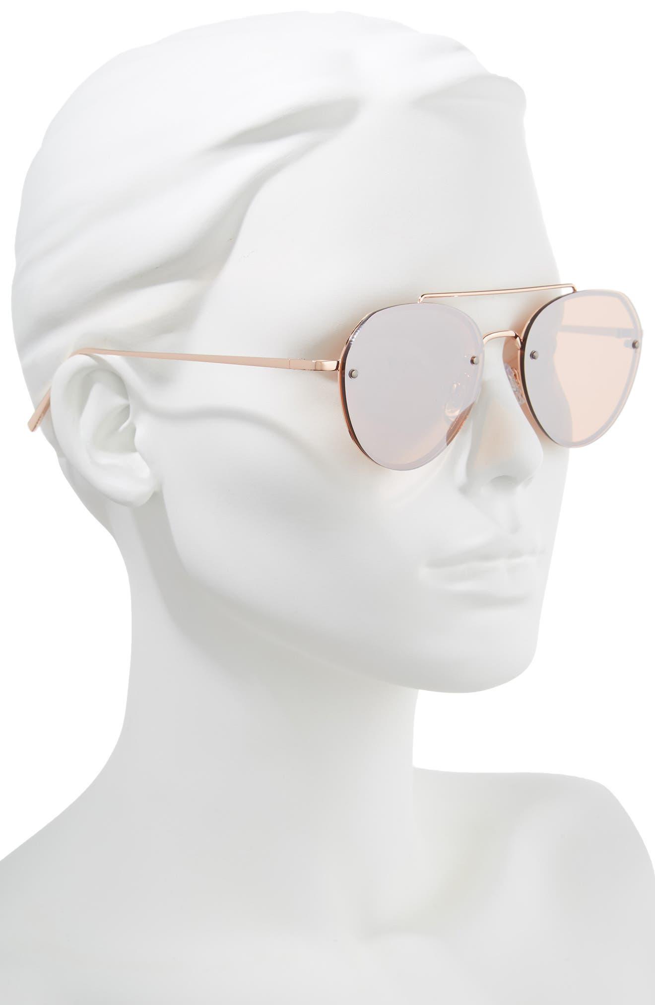 Gradient Petite Aviator Sunglasses,                             Alternate thumbnail 2, color,                             ROSE / GOLD