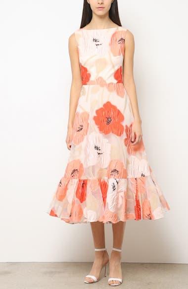 Oversize Floral Fil Coupé Midi Dress, video thumbnail