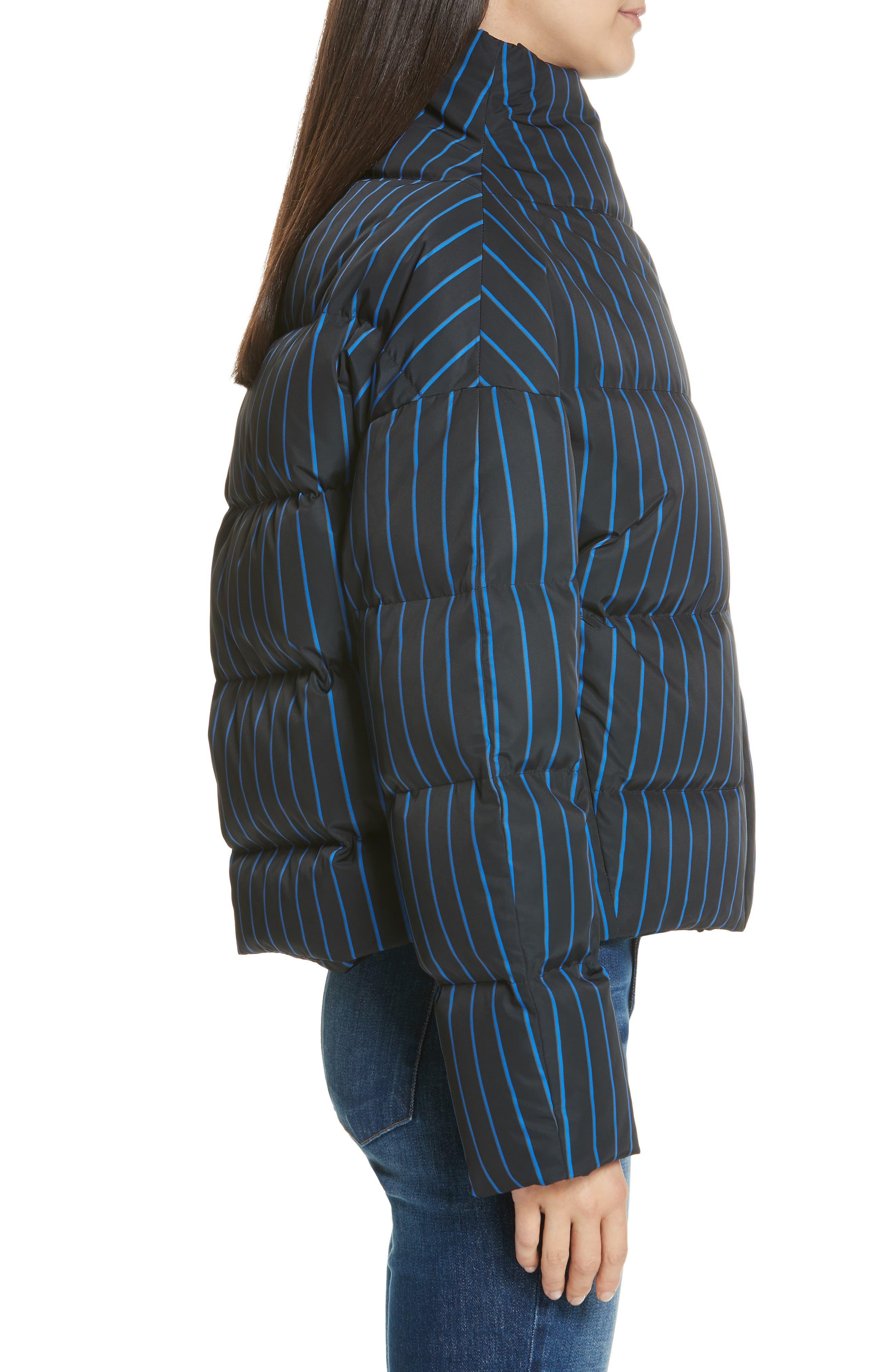 Asymmetrical Stripe Puffer Jacket,                             Alternate thumbnail 3, color,                             BLACK MULTI