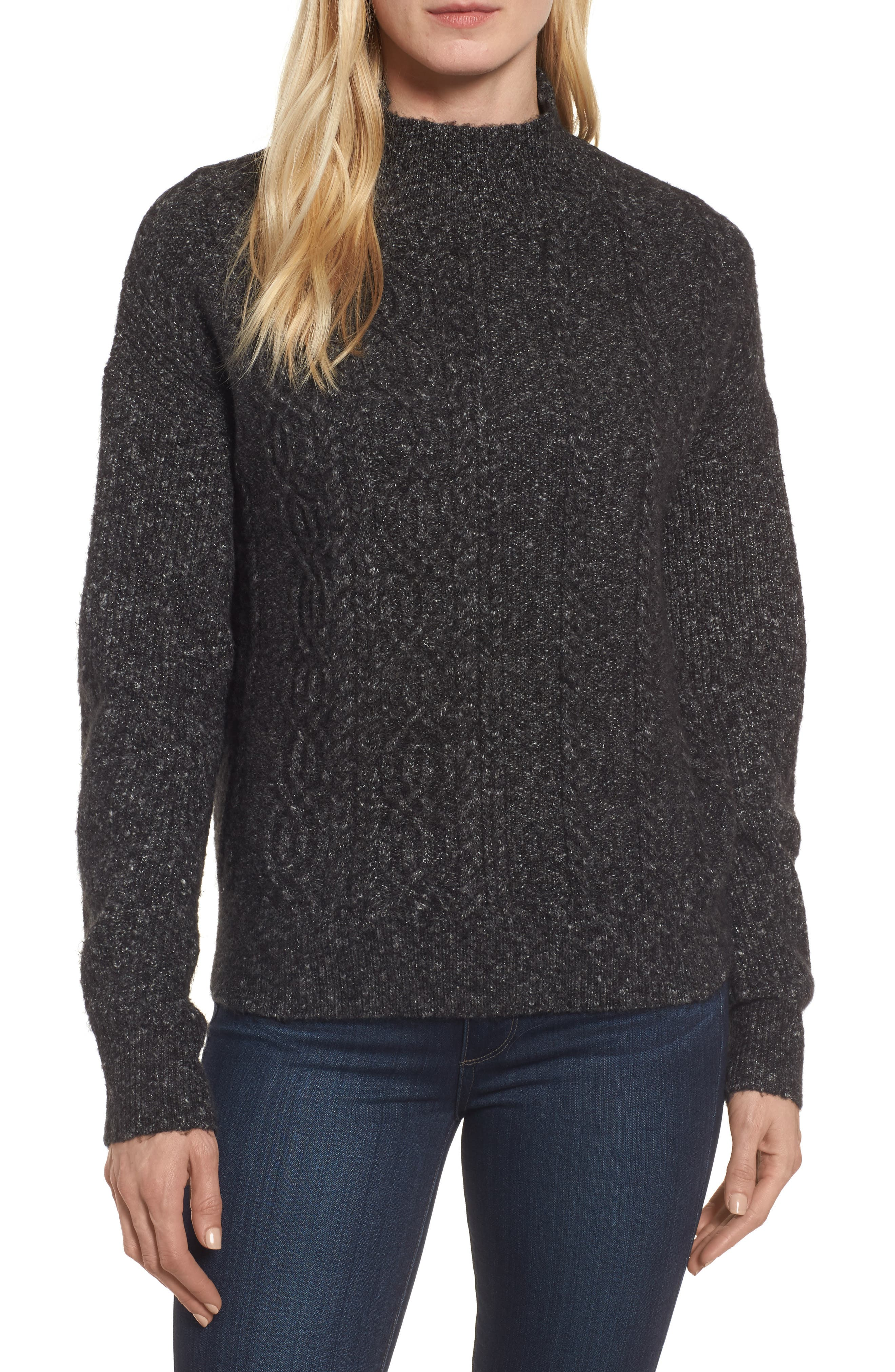 Mock Neck Cable Knit Sweater,                             Main thumbnail 1, color,                             030