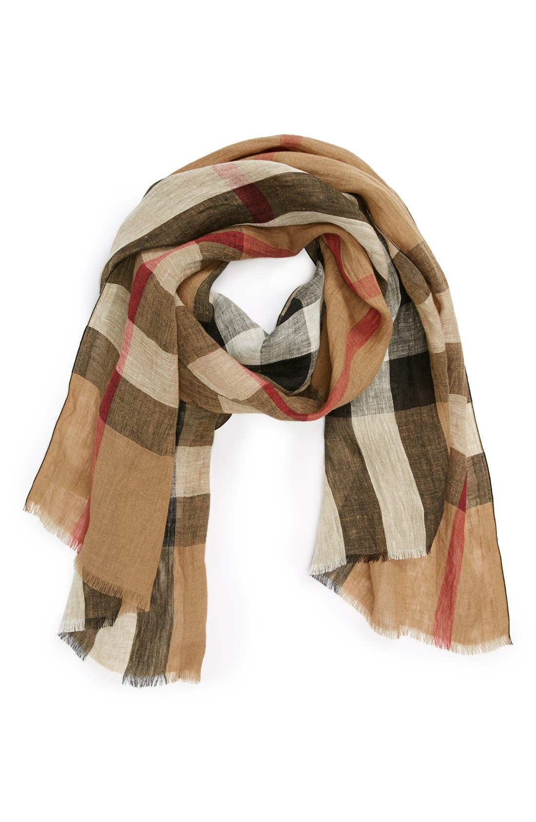 'Giant Exploded Check' Linen Scarf,                             Main thumbnail 1, color,                             003
