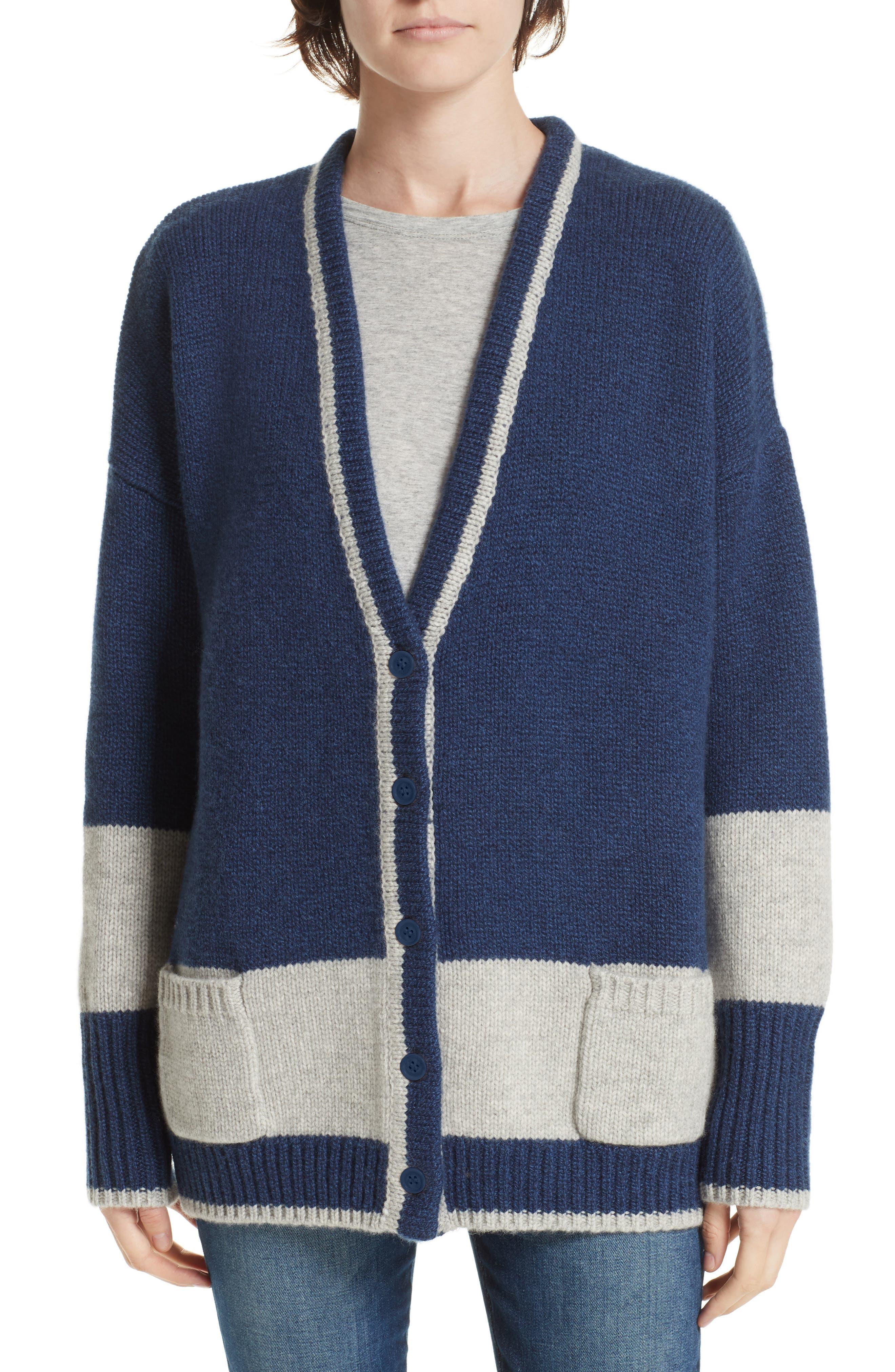 LA LIGNE Martha Wool & Cashmere Cardigan in Blue Marle/ Grey Marle/ Cream