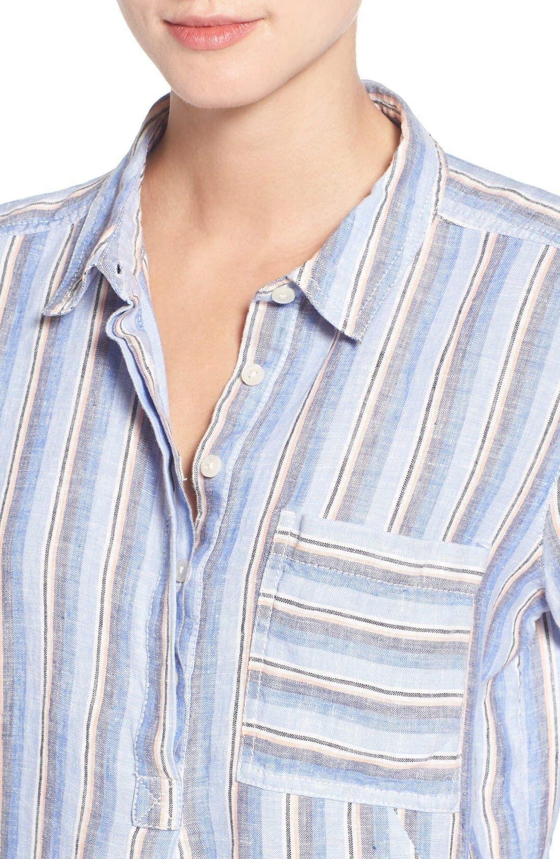 Linen Shirtdress,                             Alternate thumbnail 4, color,                             420