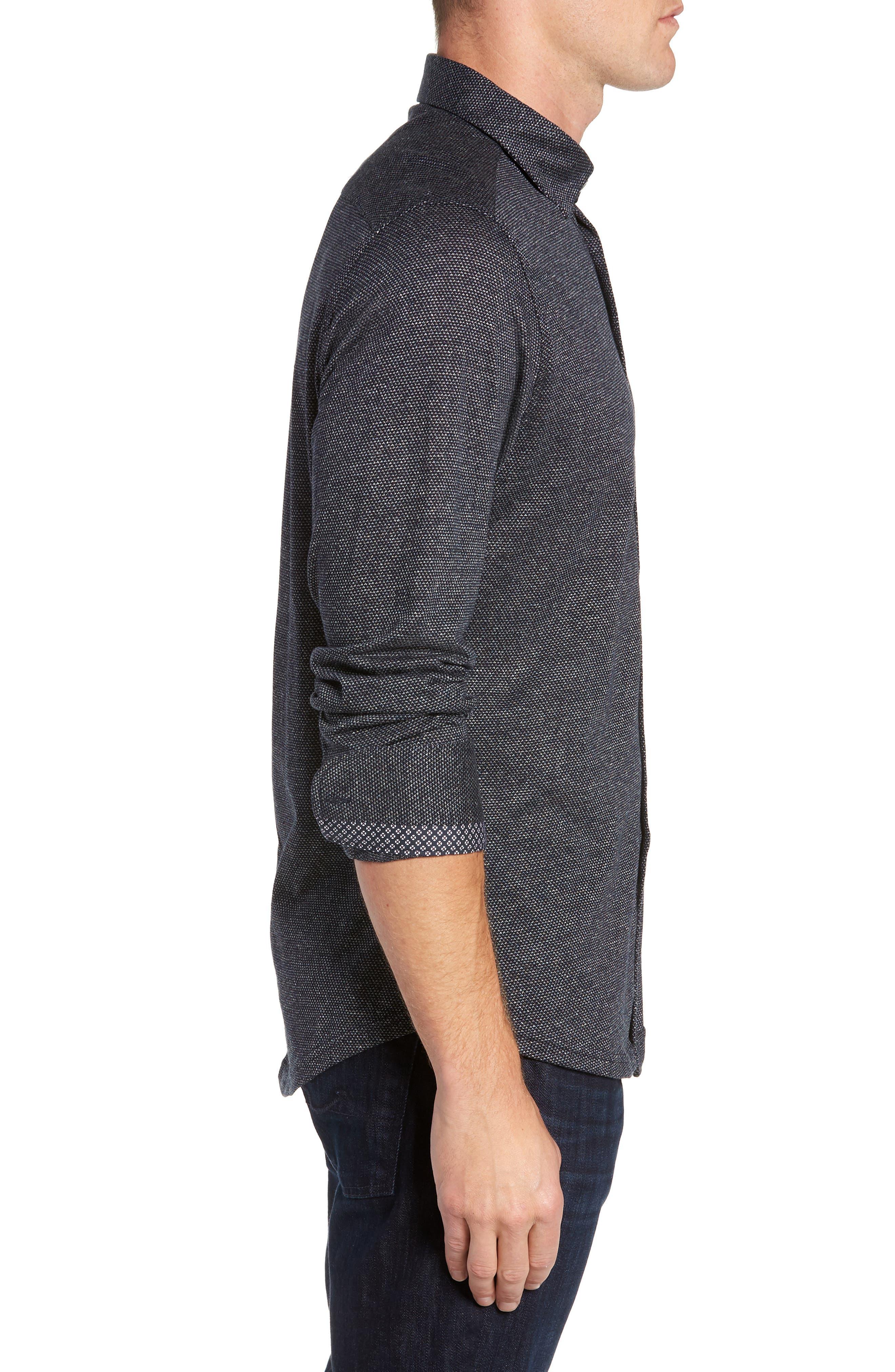 Trim Fit Jacquard Knit Sport Shirt,                             Alternate thumbnail 4, color,                             BLACK