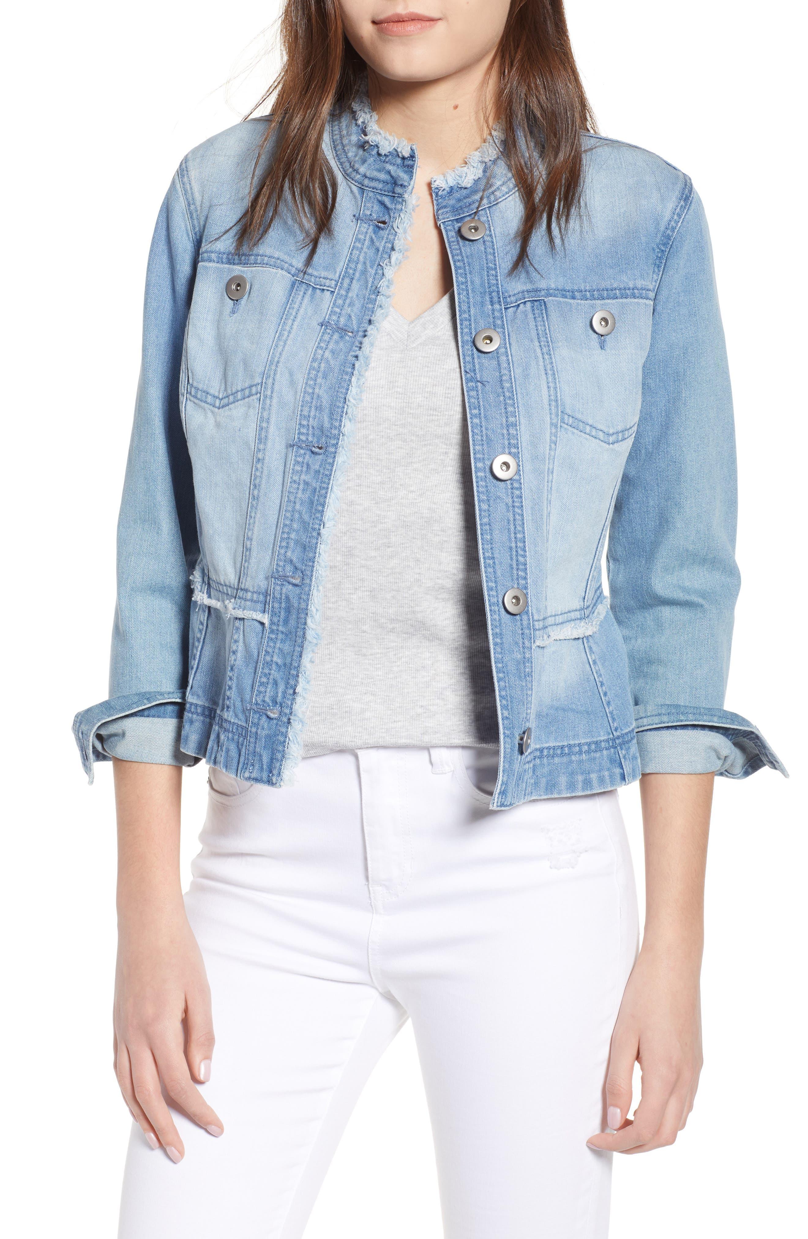 Colletta Denim Peplum Jacket,                         Main,                         color,