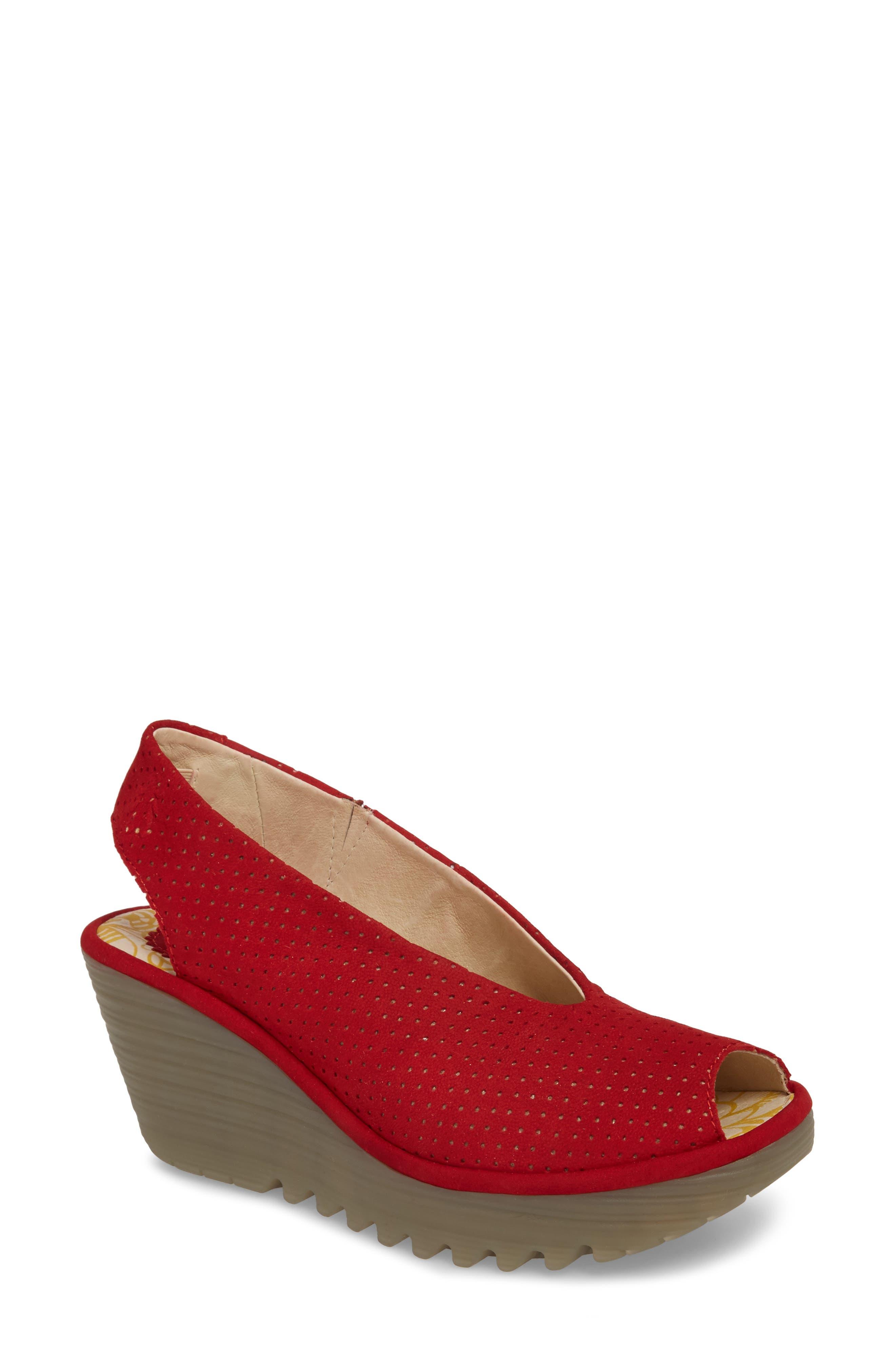 Fly London Yazu Wedge Sandal, Red