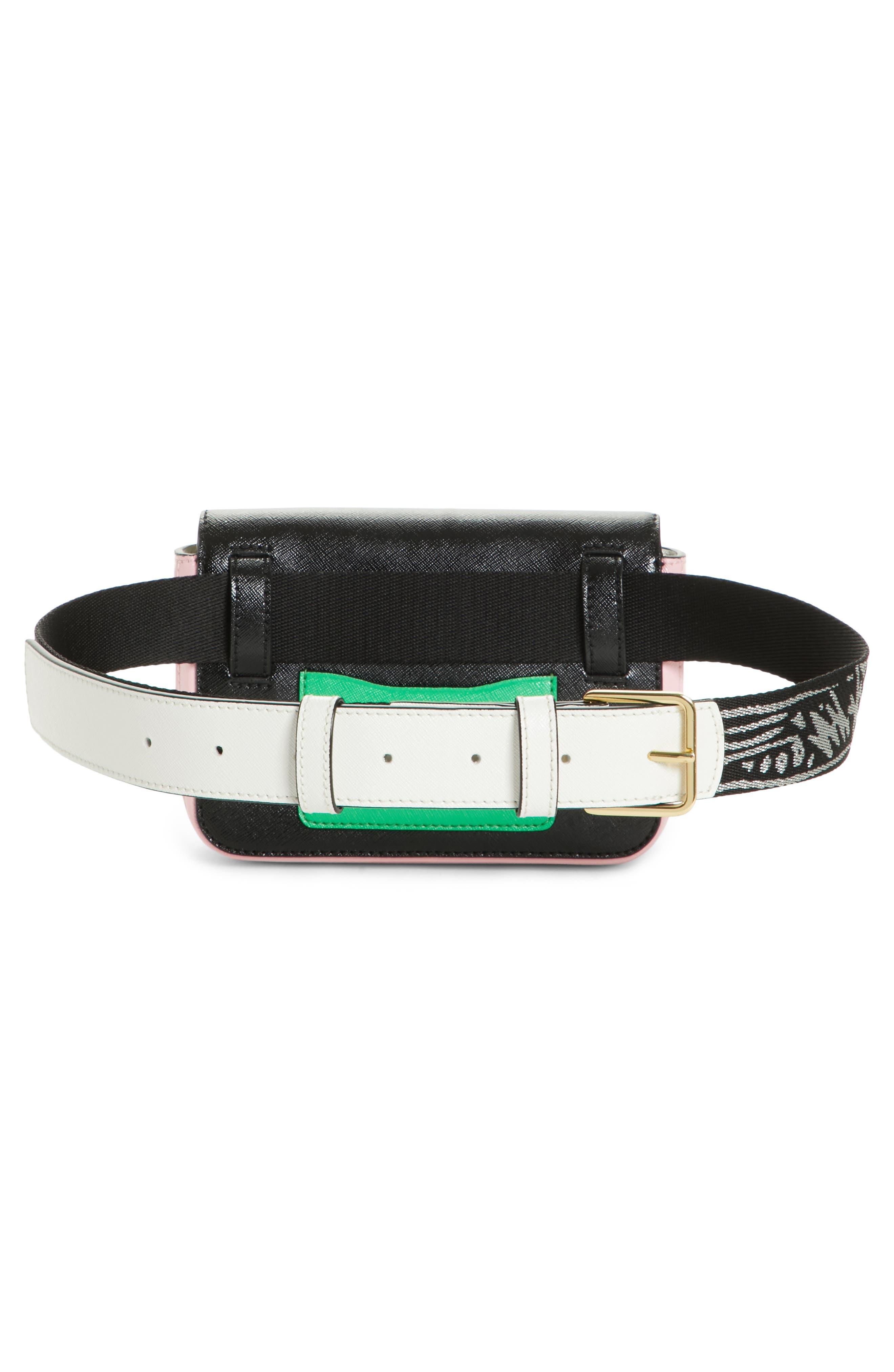 Hip Shot Convertible Crossbody Bag,                             Alternate thumbnail 4, color,                             BLACK/ BABY PINK